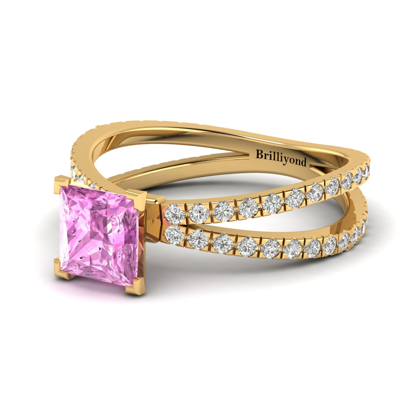 Pink Sapphire Yellow Gold Princess Cut Engagement Ring Florentine_image2
