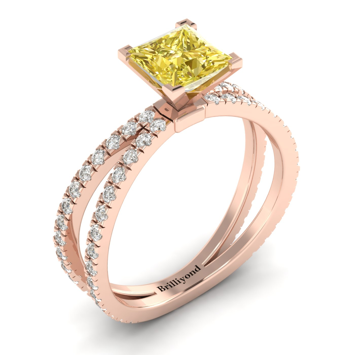 Yellow Sapphire Rose Gold Princess Cut Engagement Ring Florentine_image1