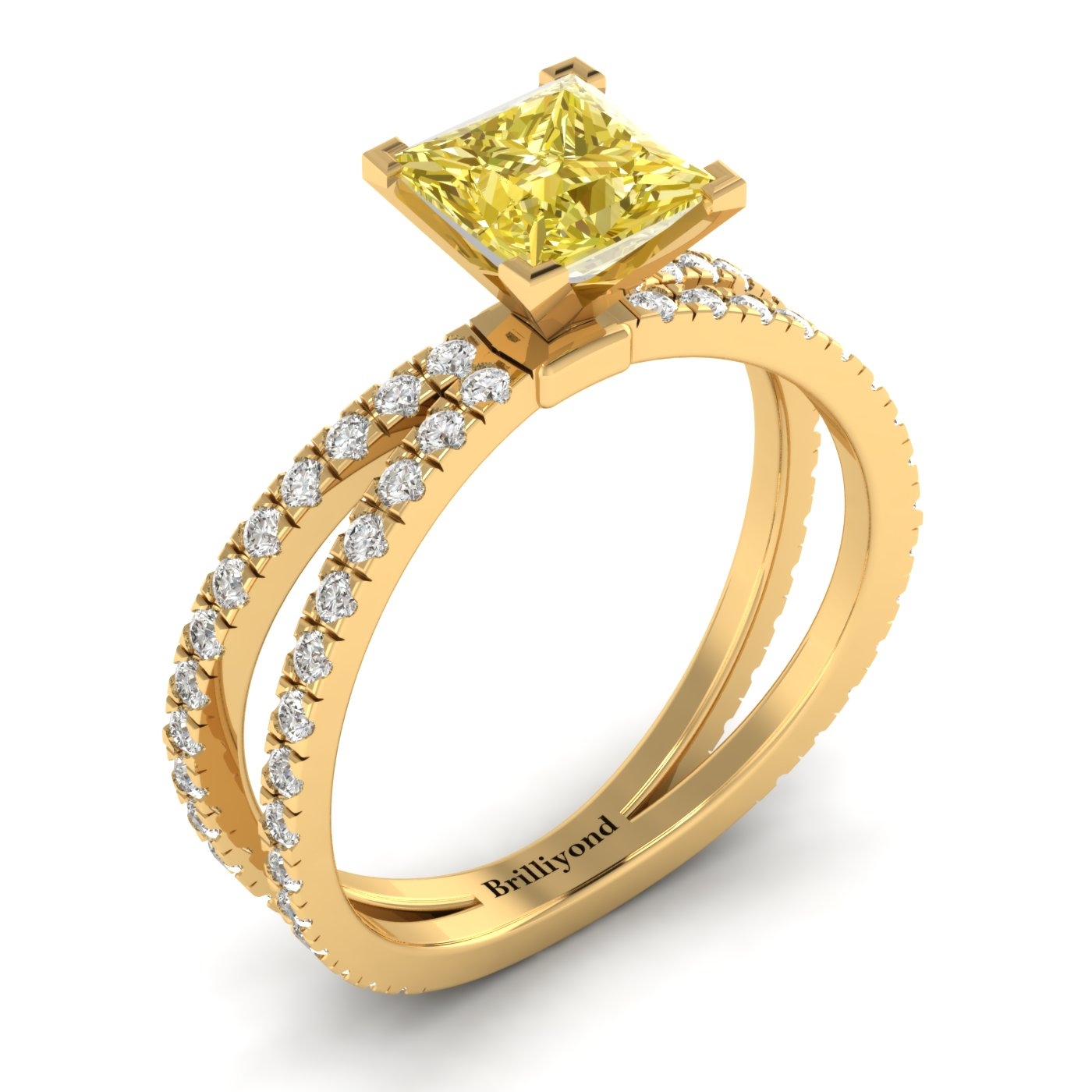 Yellow Sapphire Yellow Gold Princess Cut Engagement Ring Florentine_image2
