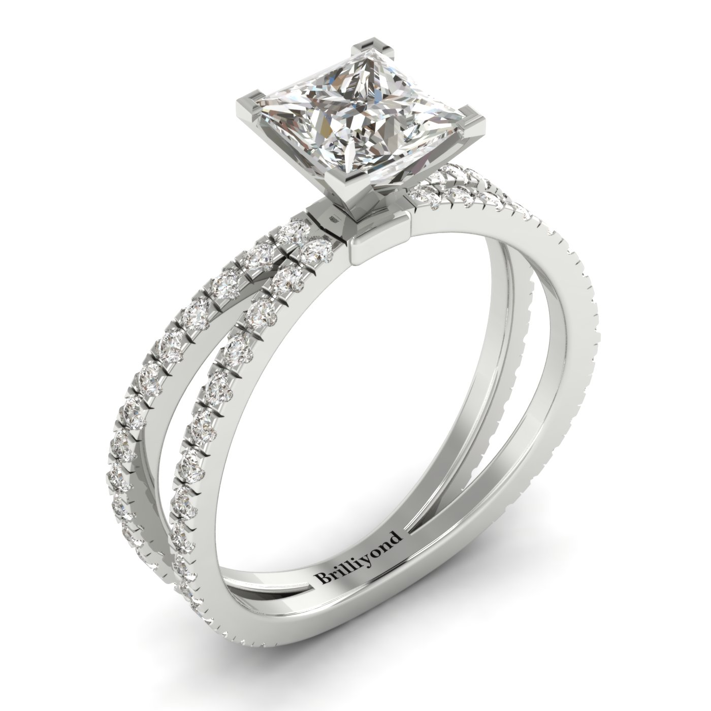 White Sapphire White Gold Princess Cut Engagement Ring Florentine_image1