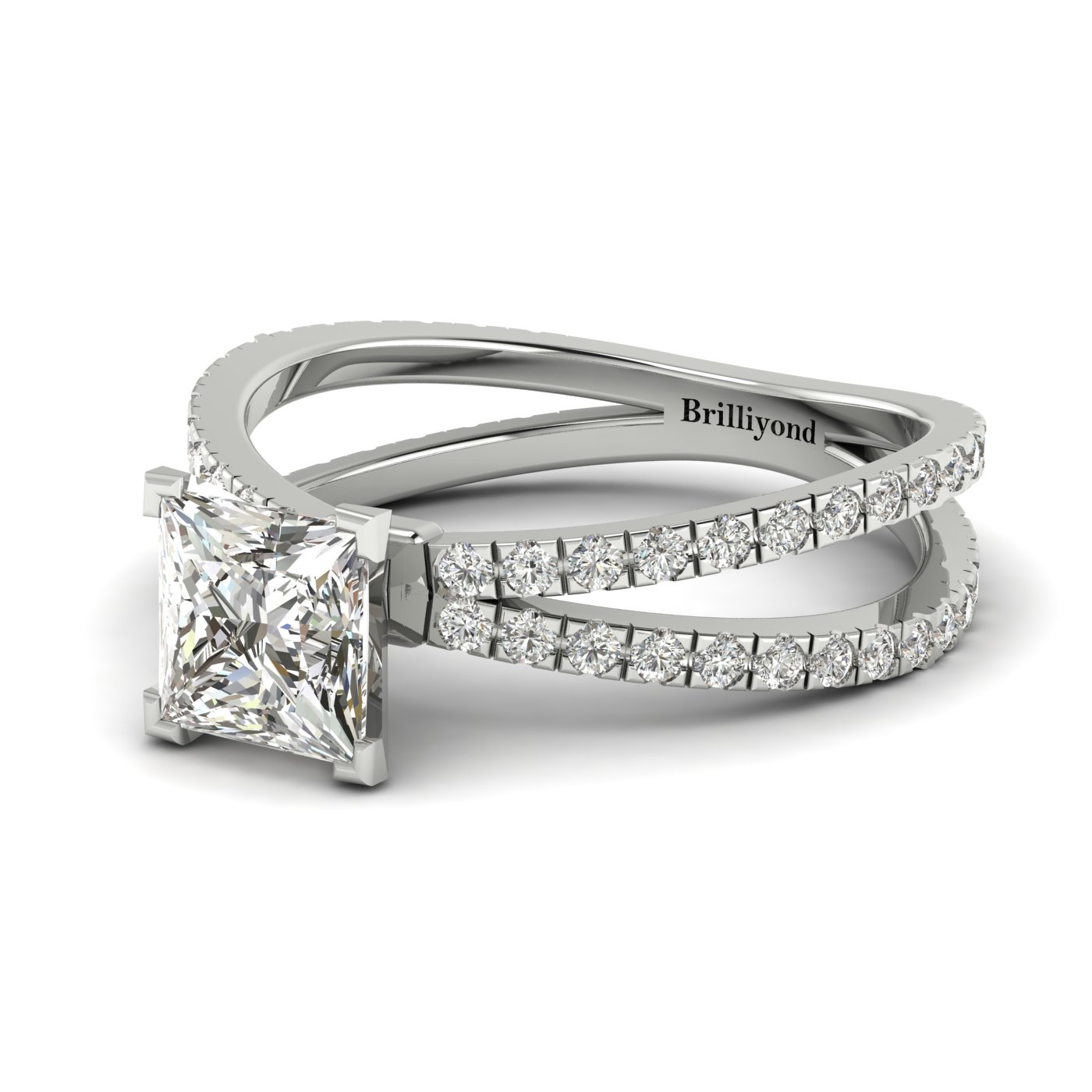 White Sapphire White Gold Princess Cut Engagement Ring Florentine_image2