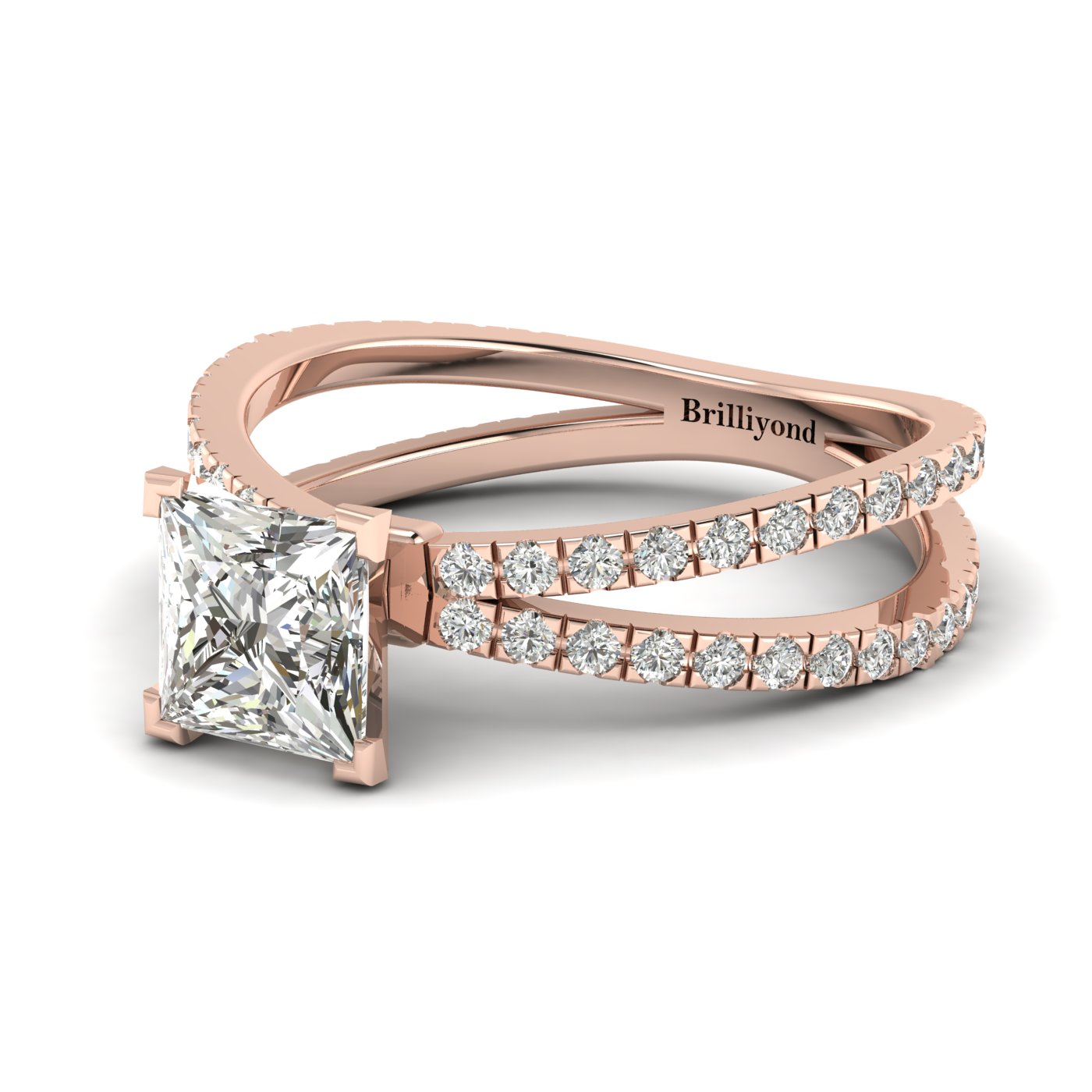 White Sapphire Rose Gold Princess Cut Engagement Ring Florentine_image1