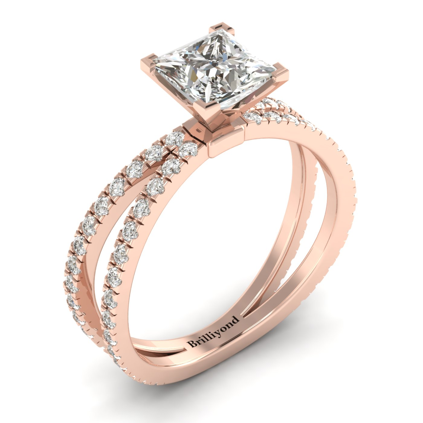 White Sapphire Rose Gold Princess Cut Engagement Ring Florentine_image2