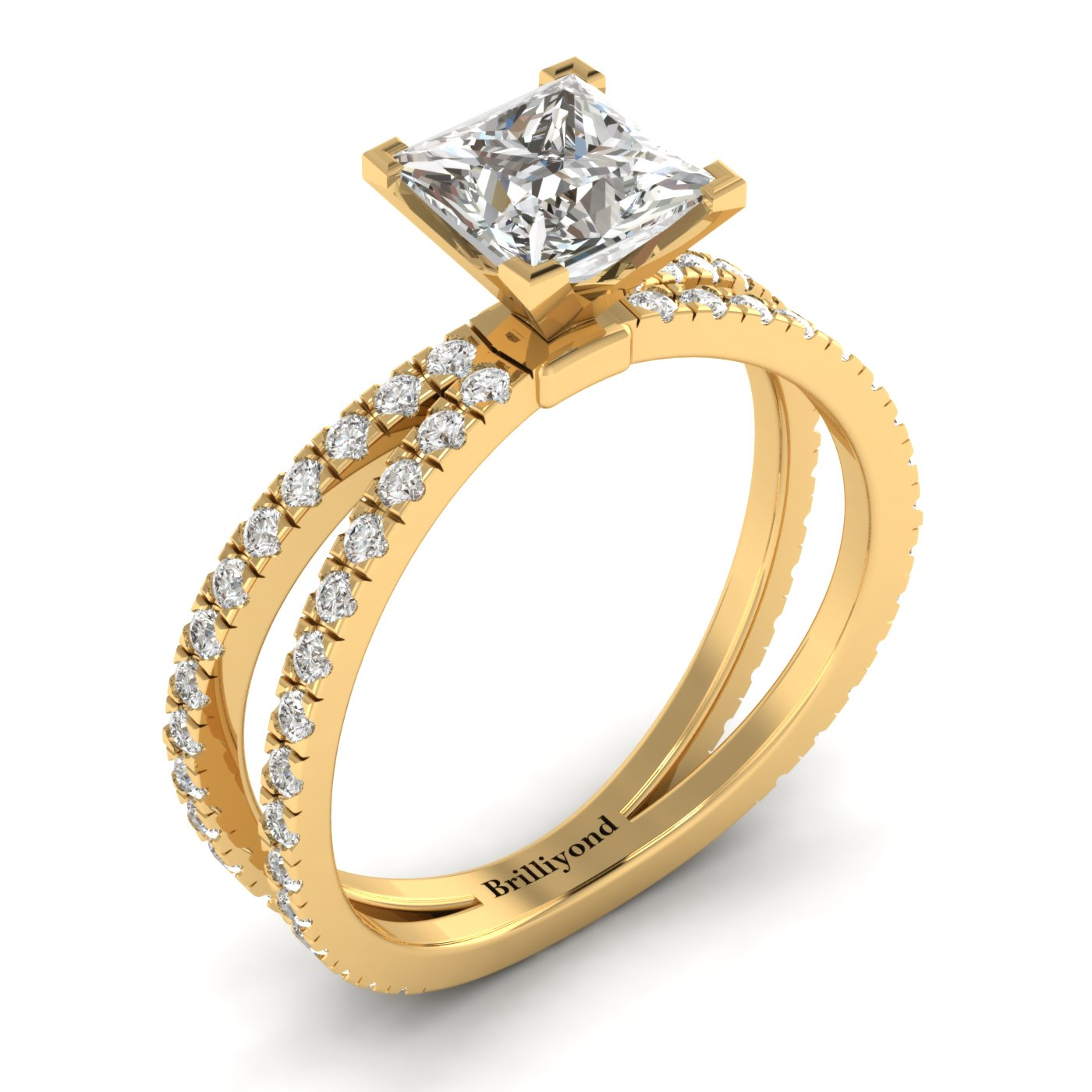White Sapphire Yellow Gold Princess Cut Engagement Ring Florentine_image1