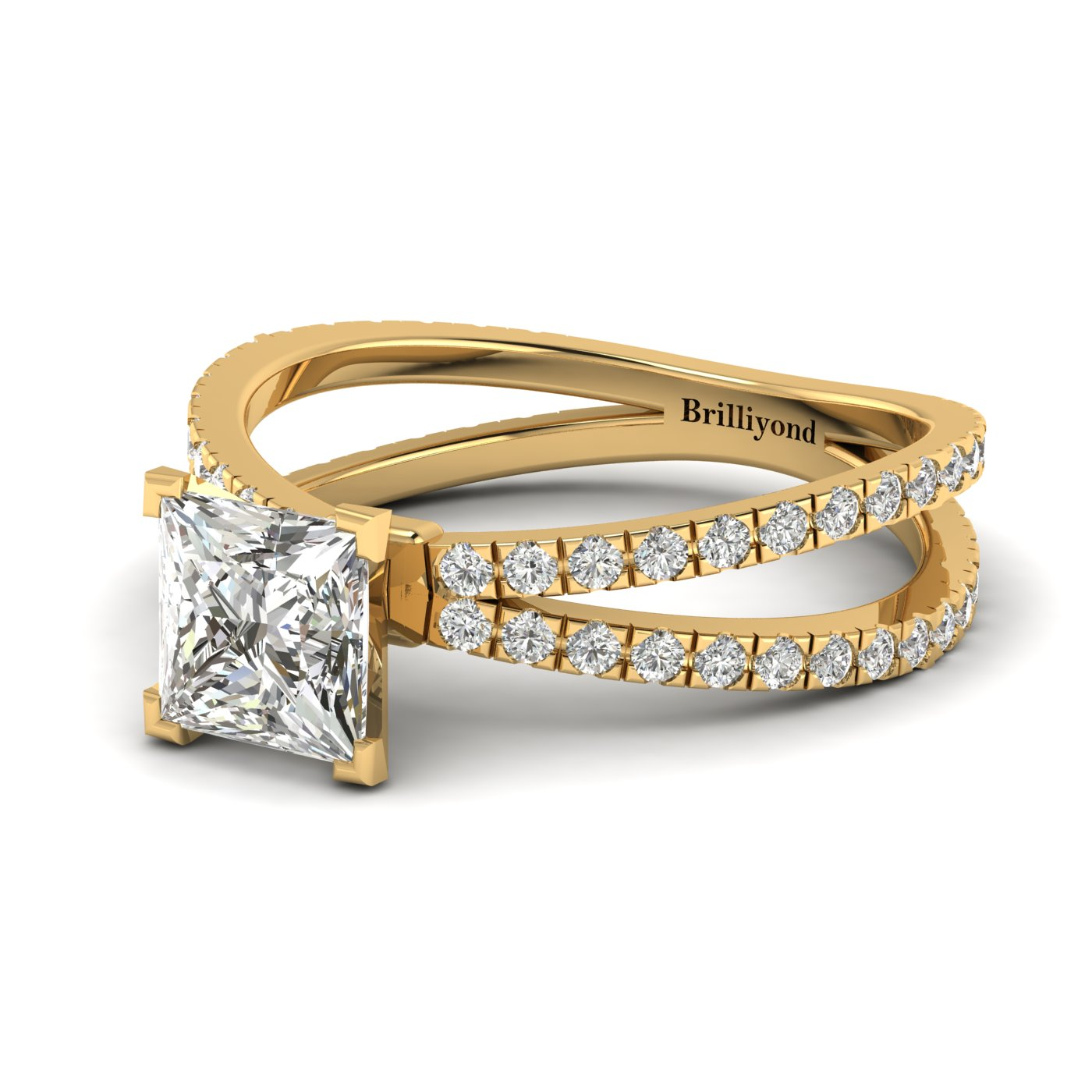 White Sapphire Yellow Gold Princess Cut Engagement Ring Florentine_image2