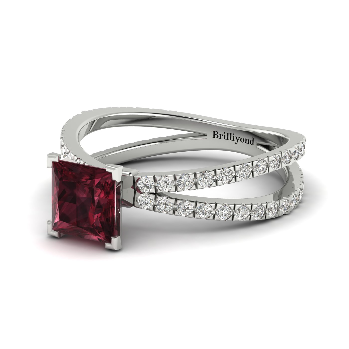 Garnet White Gold Princess Cut Engagement Ring Florentine_image1