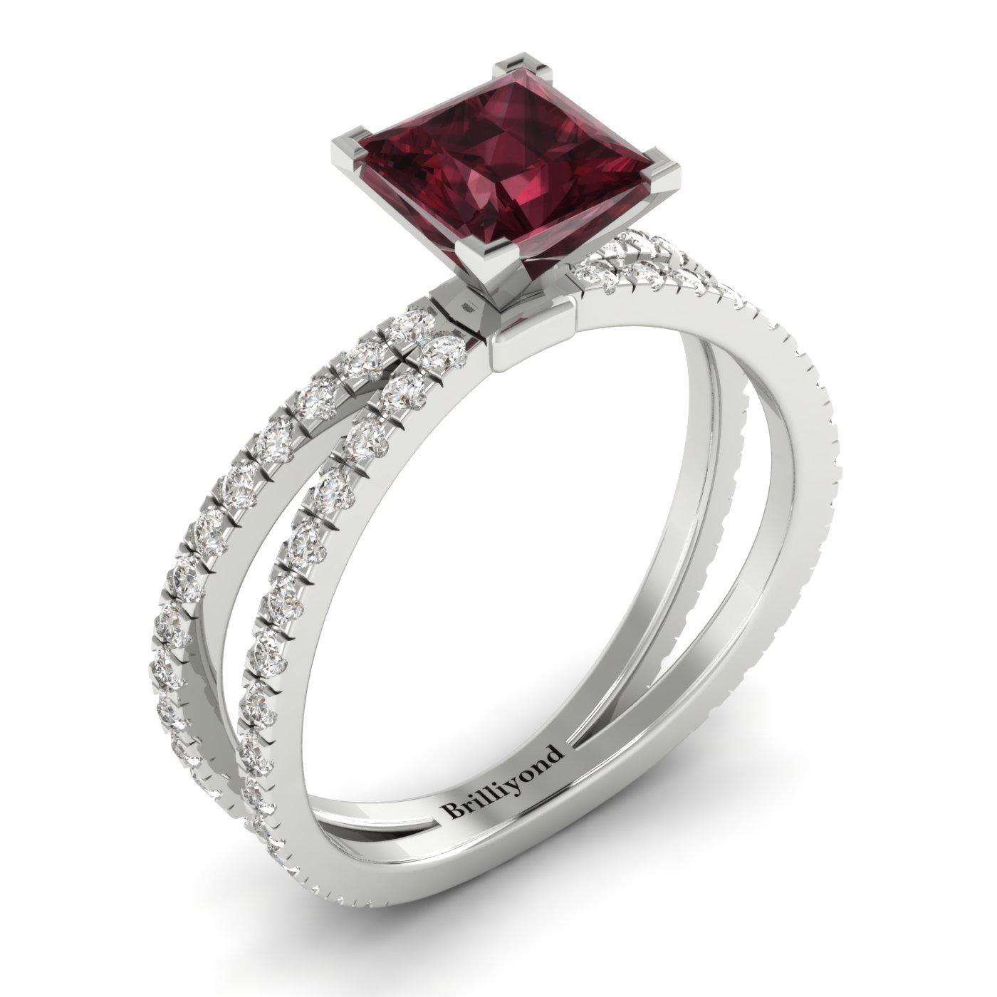 Garnet White Gold Princess Cut Engagement Ring Florentine_image2