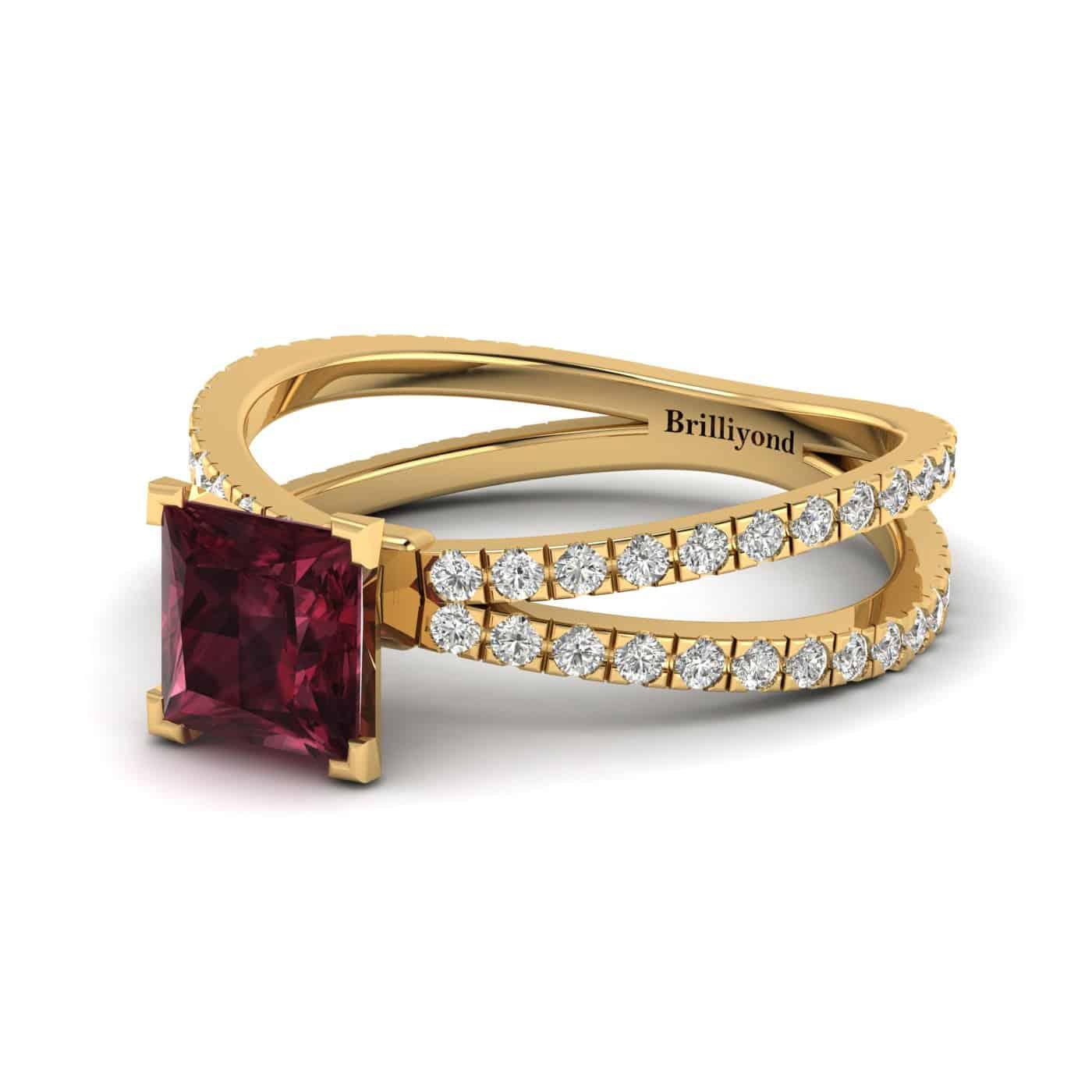 Garnet Yellow Gold Princess Cut Engagement Ring Florentine_image1