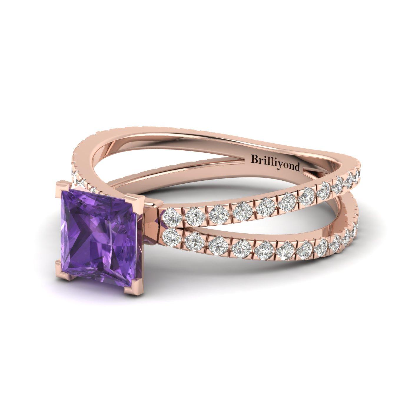 Amethyst Rose Gold Princess Cut Engagement Ring Florentine_image1