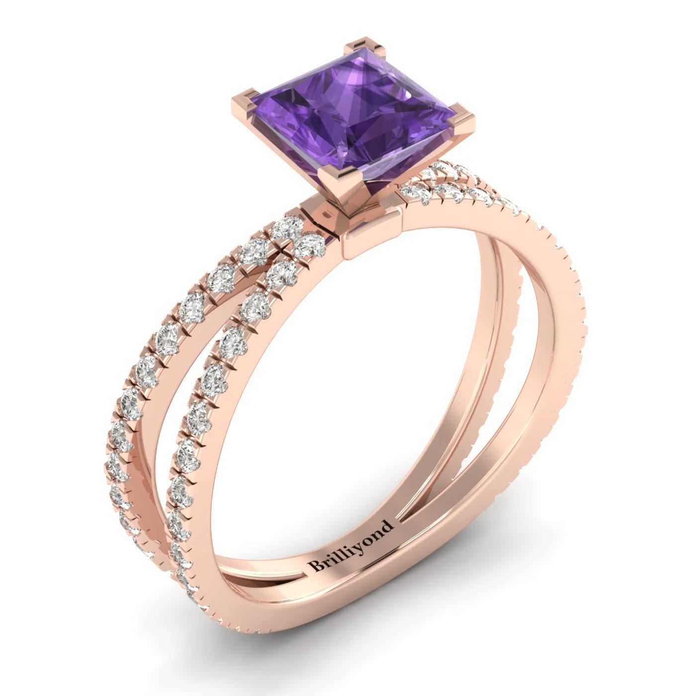 Amethyst Rose Gold Princess Cut Engagement Ring Florentine_image2