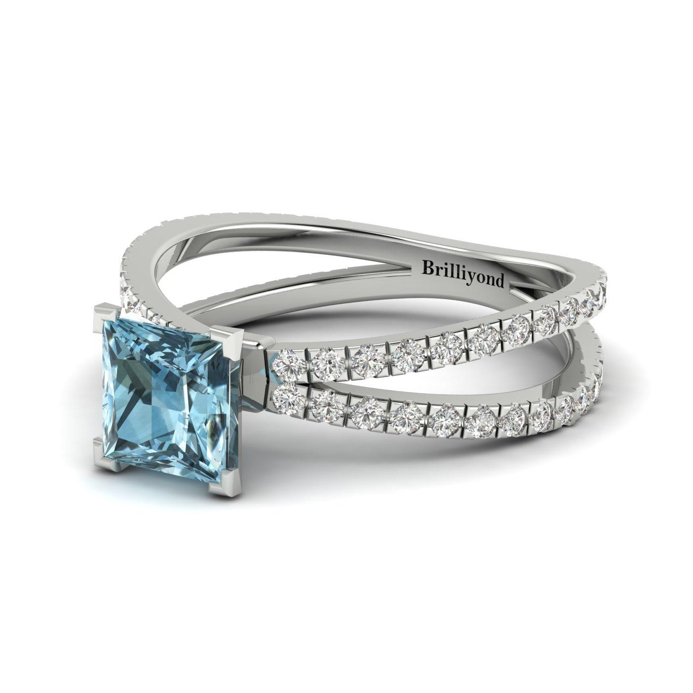 Aquamarine White Gold Princess Cut Engagement Ring Florentine_image1