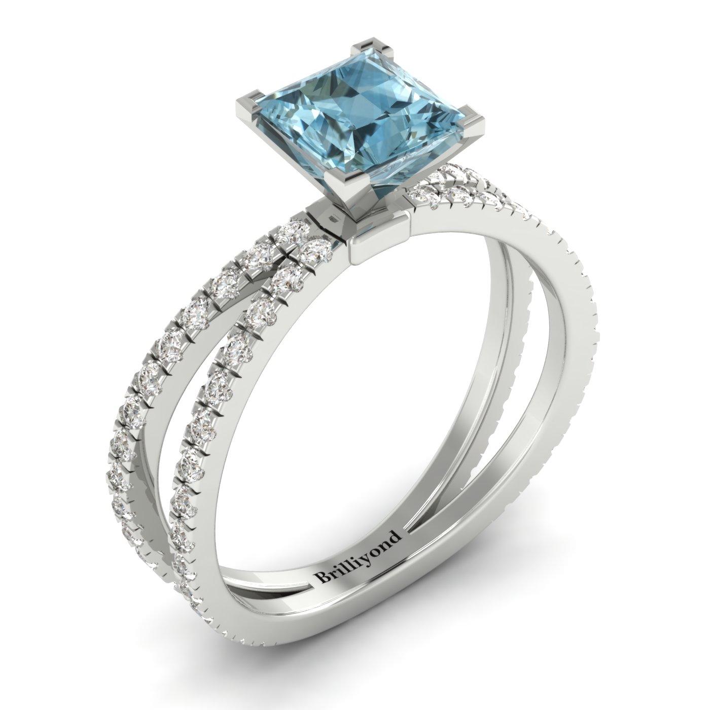 Aquamarine White Gold Princess Cut Engagement Ring Florentine