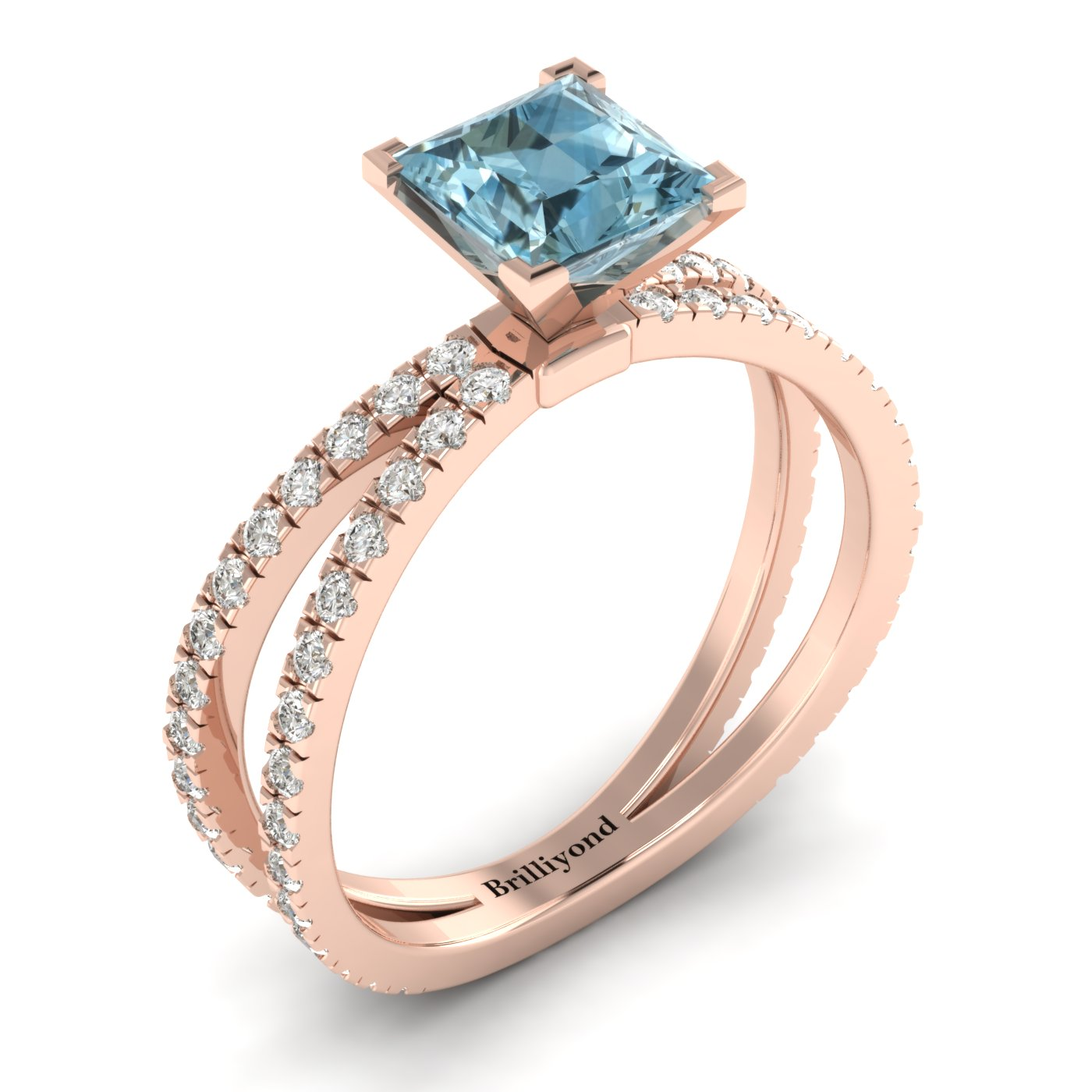 Aquamarine Rose Gold Princess Cut Engagement Ring Florentine_image1