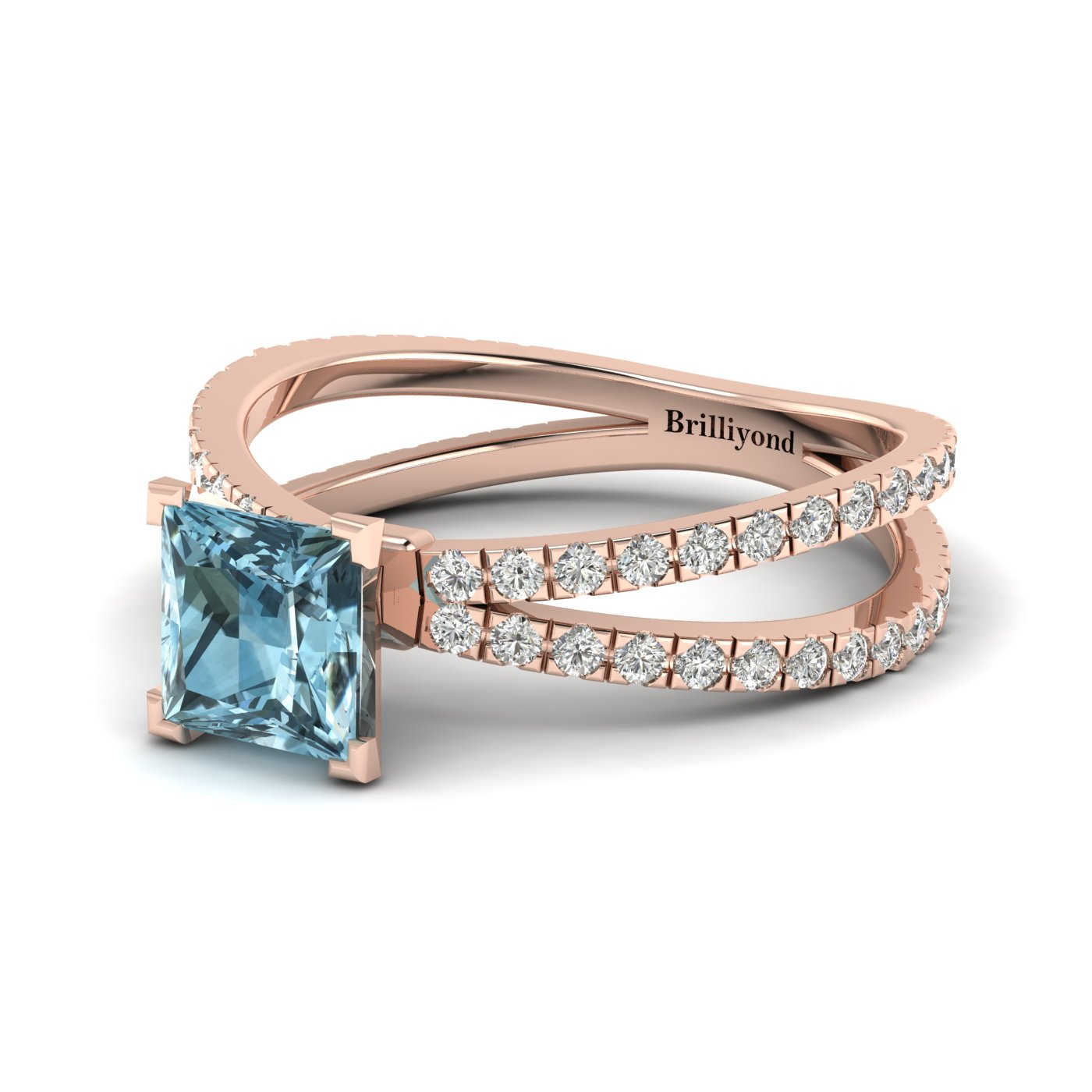 Aquamarine Rose Gold Princess Cut Engagement Ring Florentine_image2