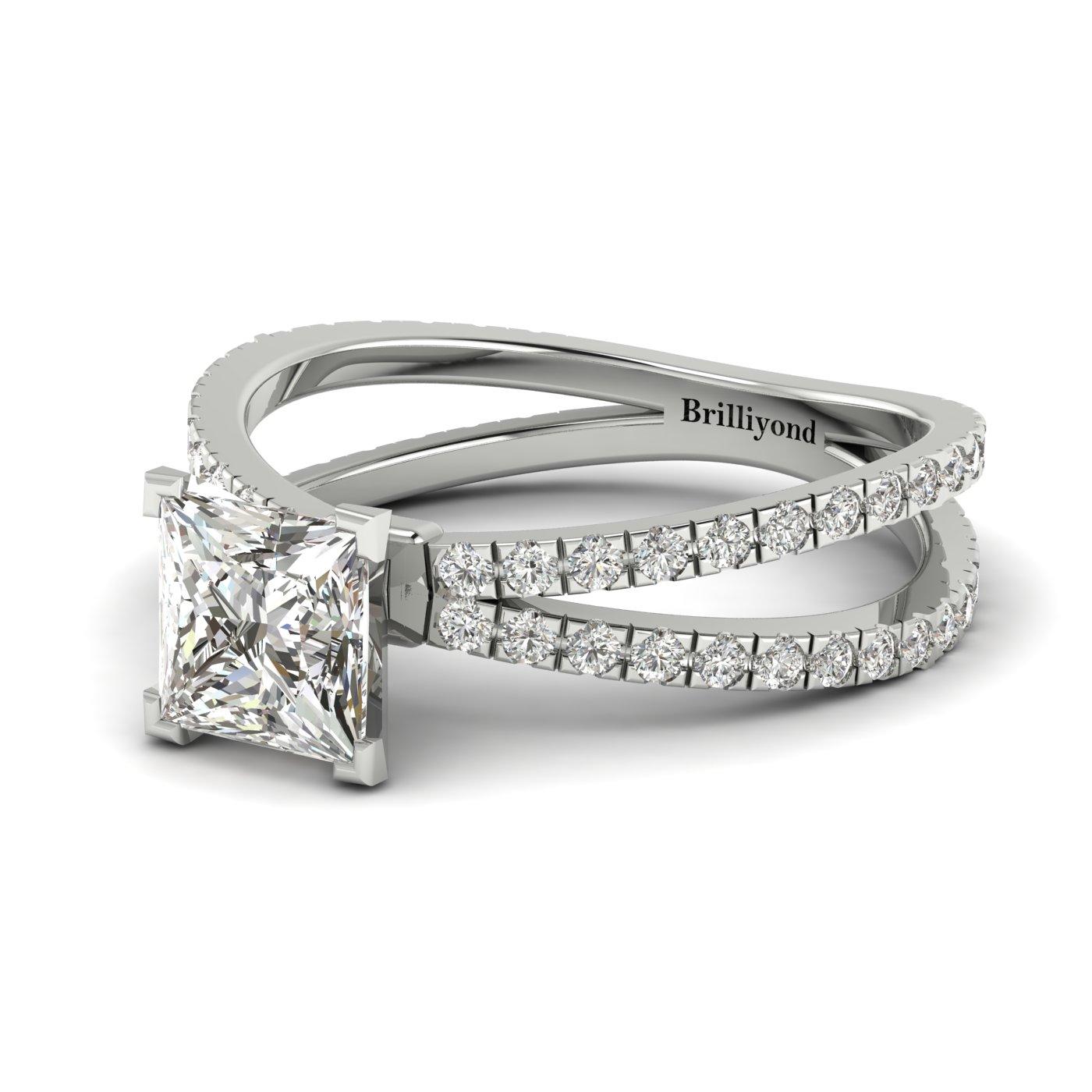 Diamond Platinum Princess Cut Engagement Ring Florentine_image2