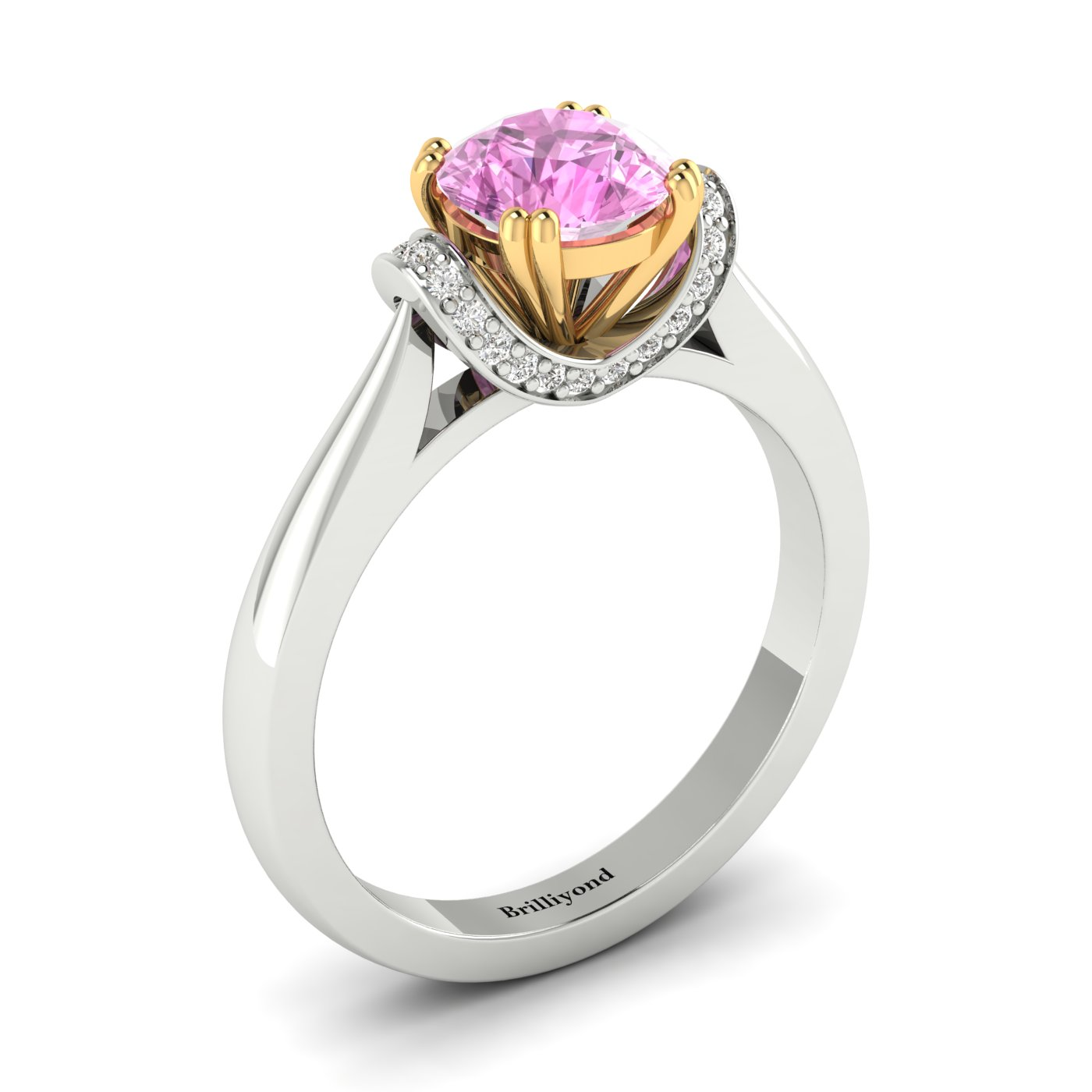 6mm Pink Sapphire Gemstone Handset on Two Tone 18k Gold Band