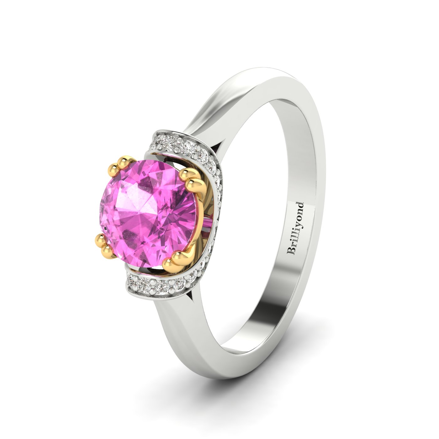 GIA Certified Diamonds Surround the Natural Pink Sapphire Centre Stone