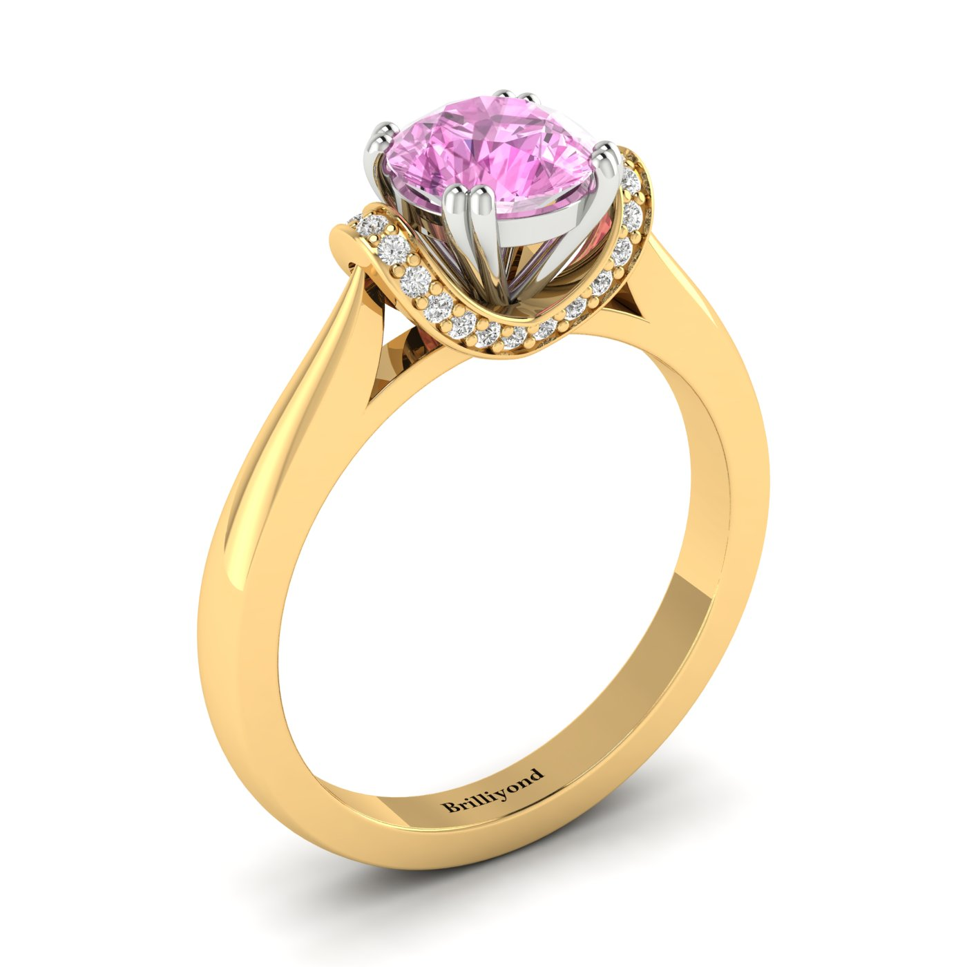 Side angle of Passiflora two tone gold engagement ring with pink Ceylon sapphire
