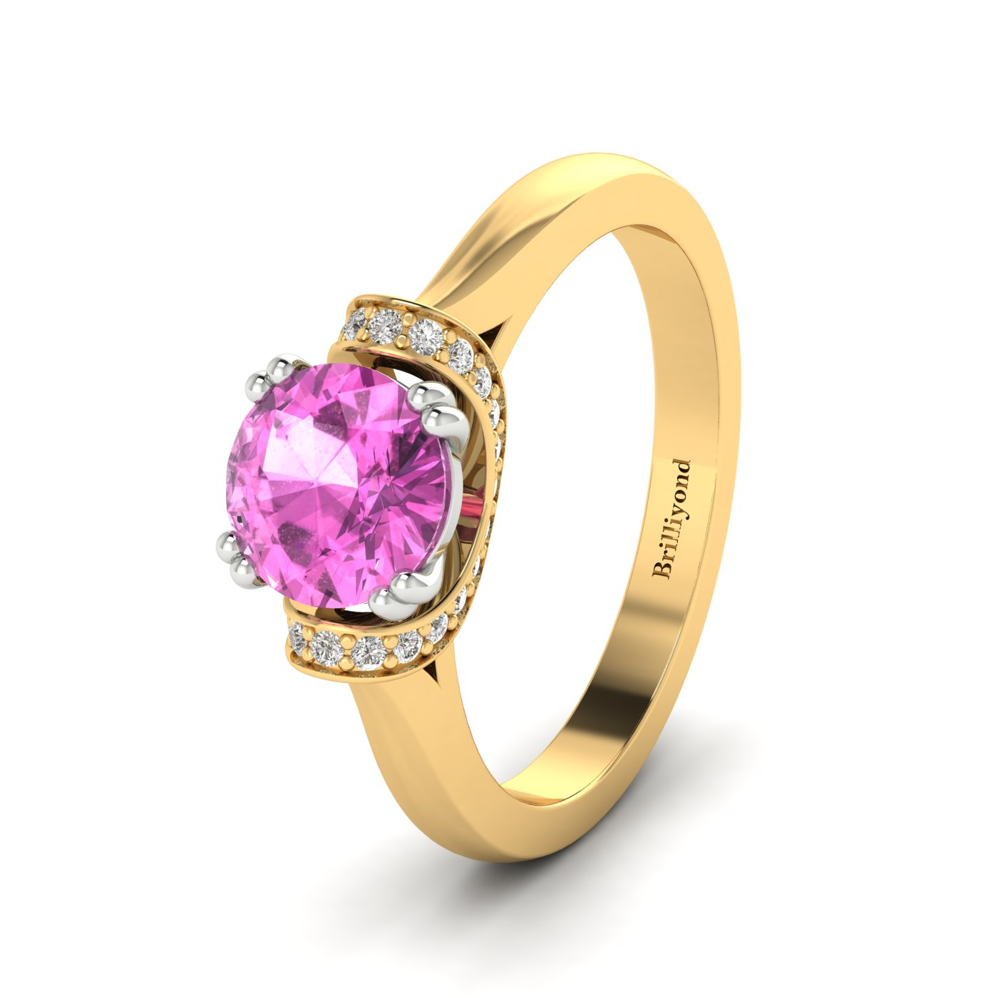 Pink Ceylon sapphire with GIA certified diamond accents on two tone gold band