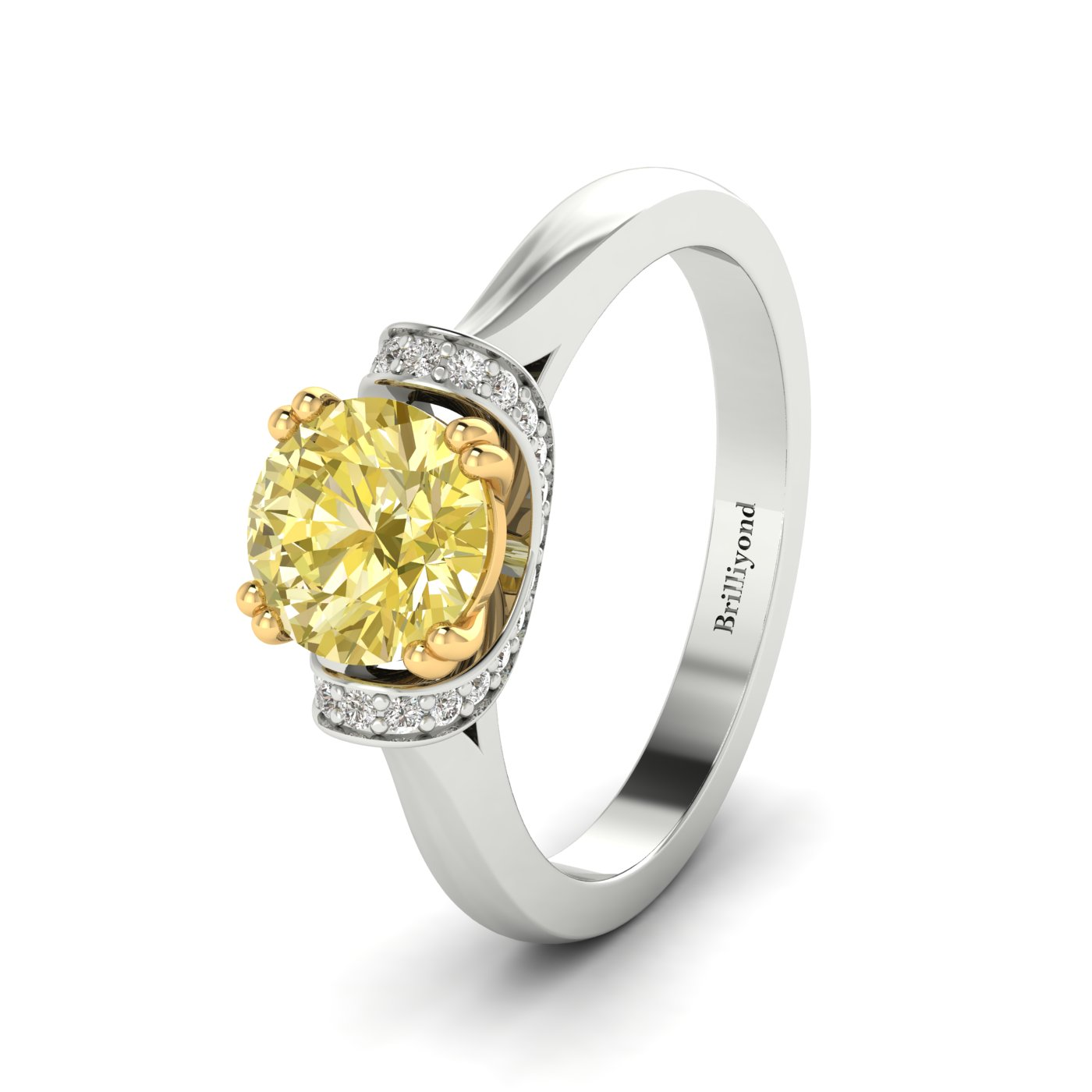 Yellow Sapphire White Gold Two Tone Engagement Ring Passiflora_image1
