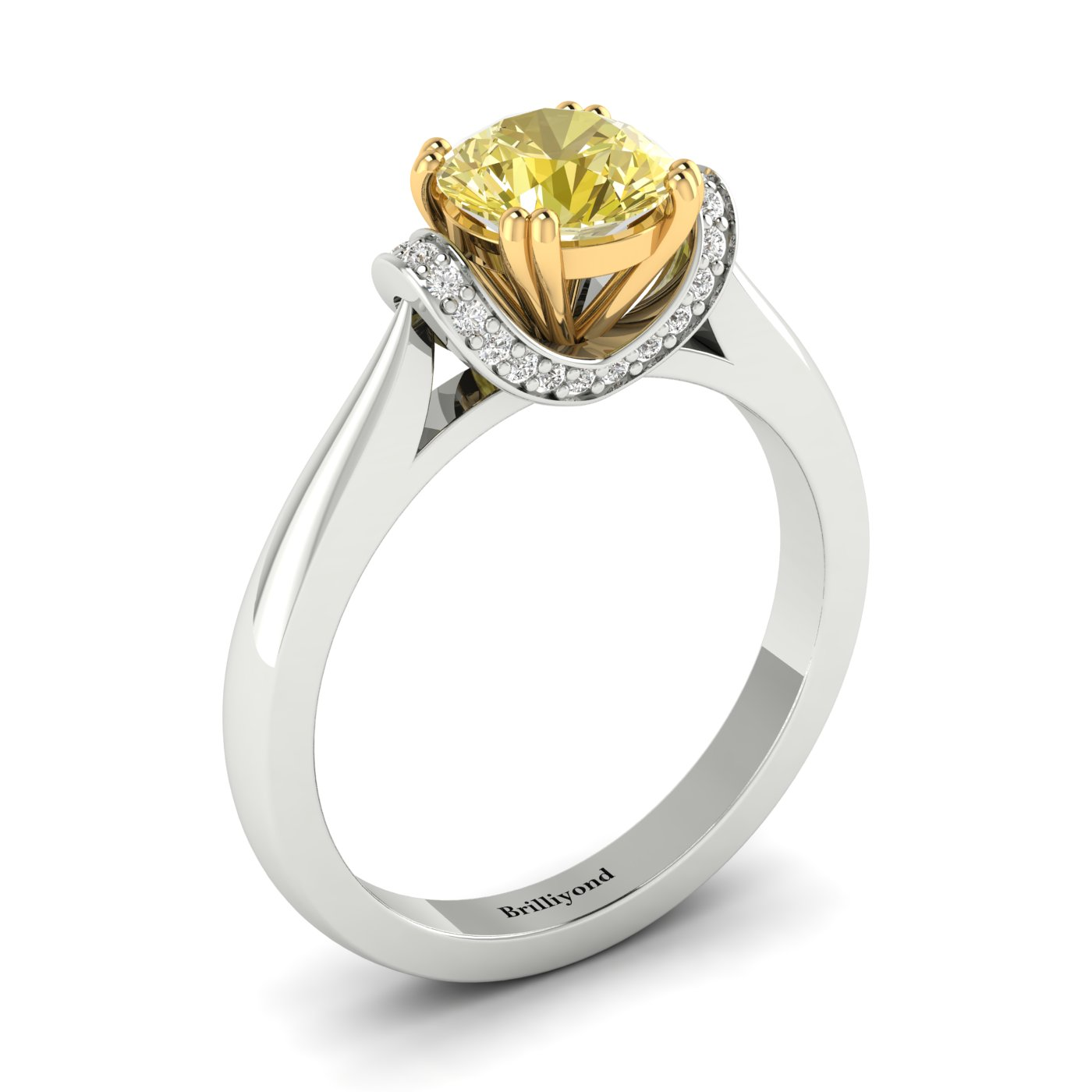 Yellow Sapphire White Gold Two Tone Engagement Ring Passiflora_image2