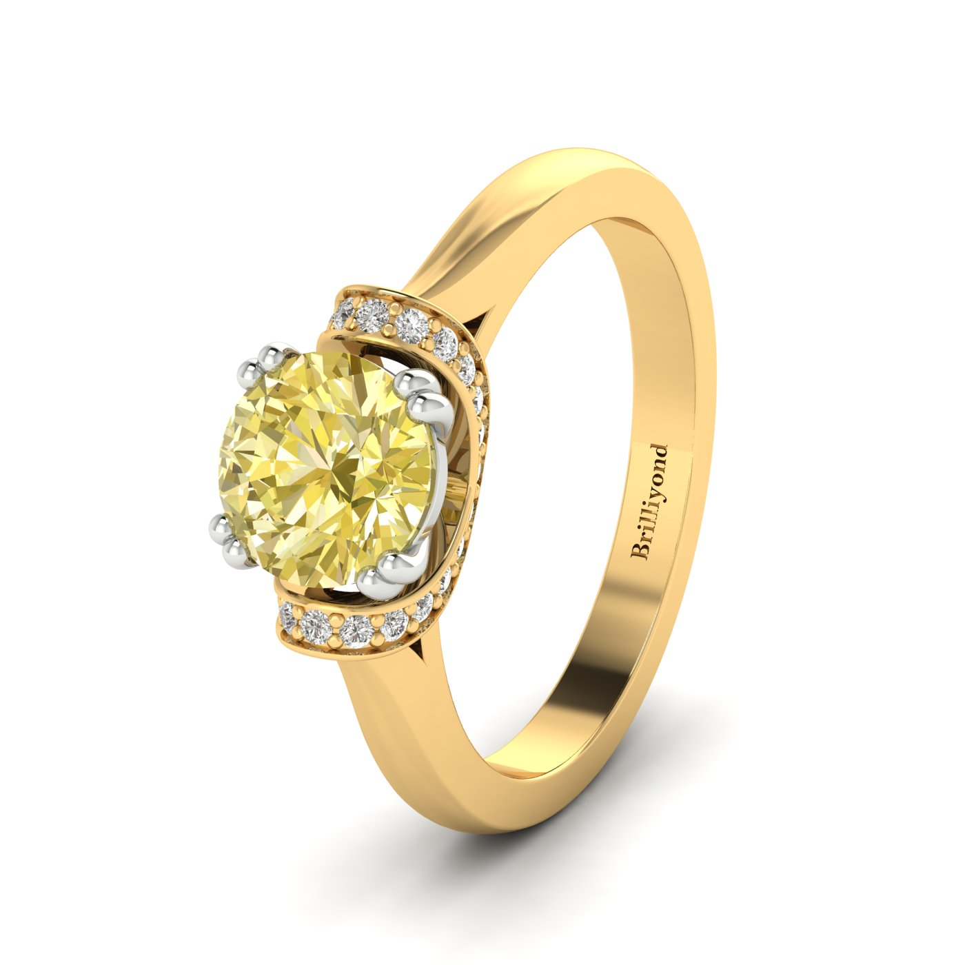 Yellow Sapphire Yellow Gold Two Tone Engagement Ring Passiflora_image1
