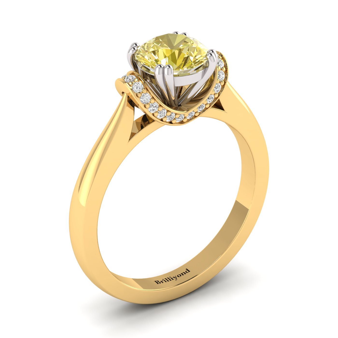Yellow Sapphire Yellow Gold Two Tone Engagement Ring Passiflora_image2
