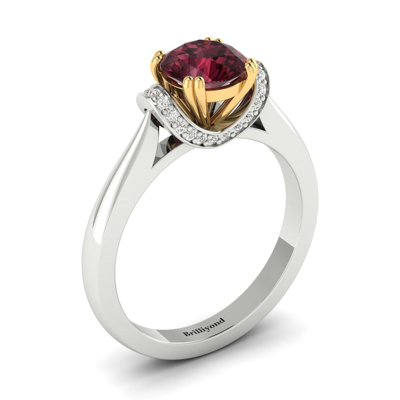 Garnet White Gold Two Tone Engagement Ring Passiflora_image1