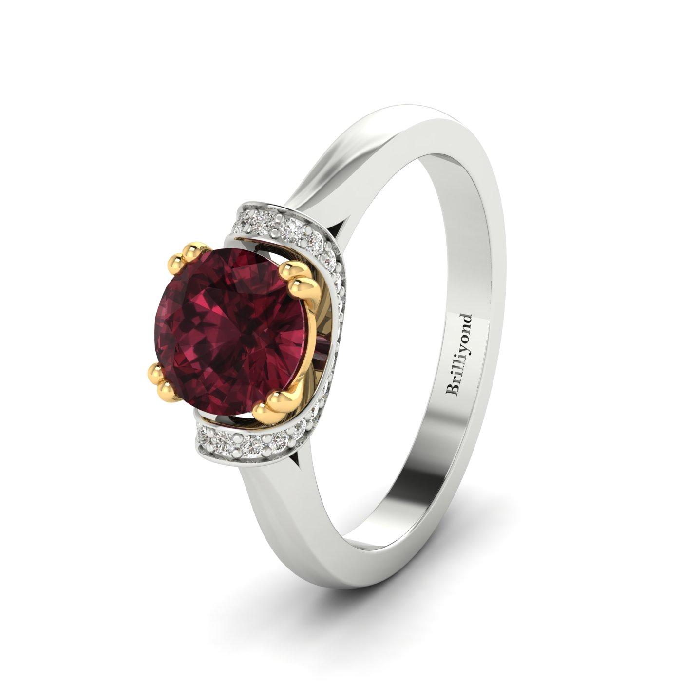 Garnet White Gold Two Tone Engagement Ring Passiflora_image2