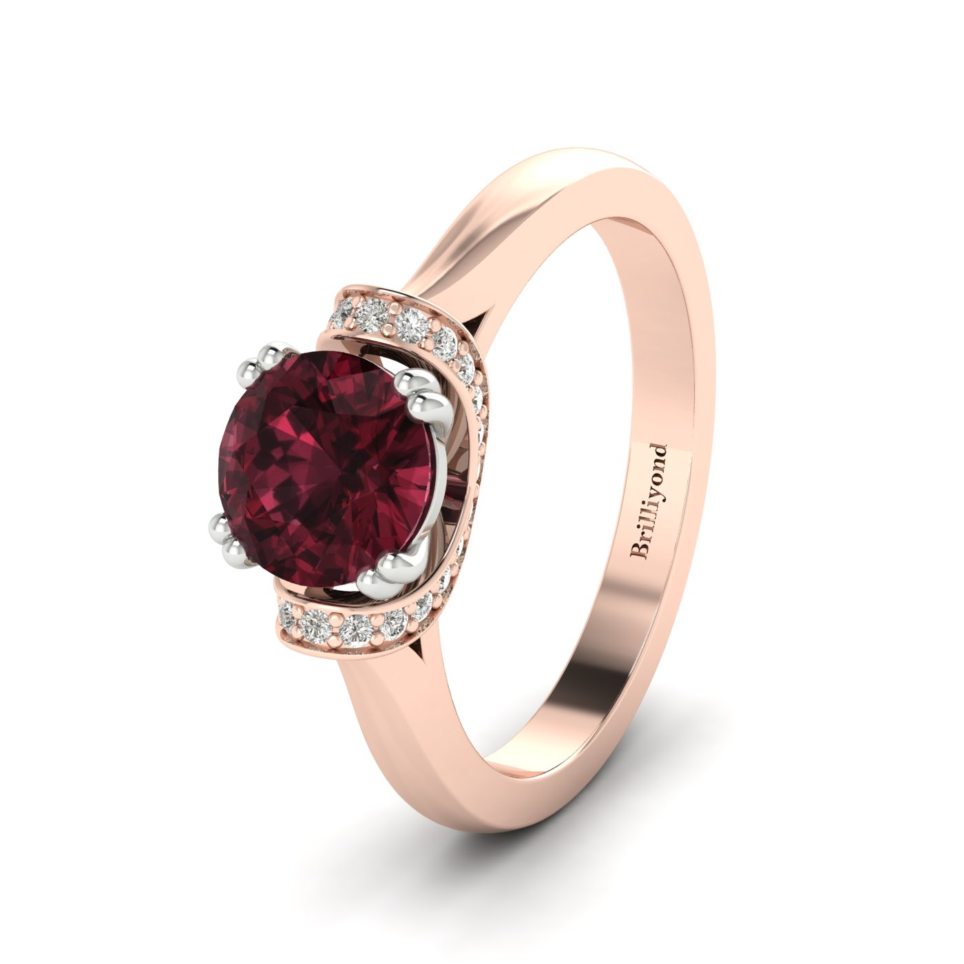 Garnet Rose Gold Two Tone Engagement Ring Passiflora_image1