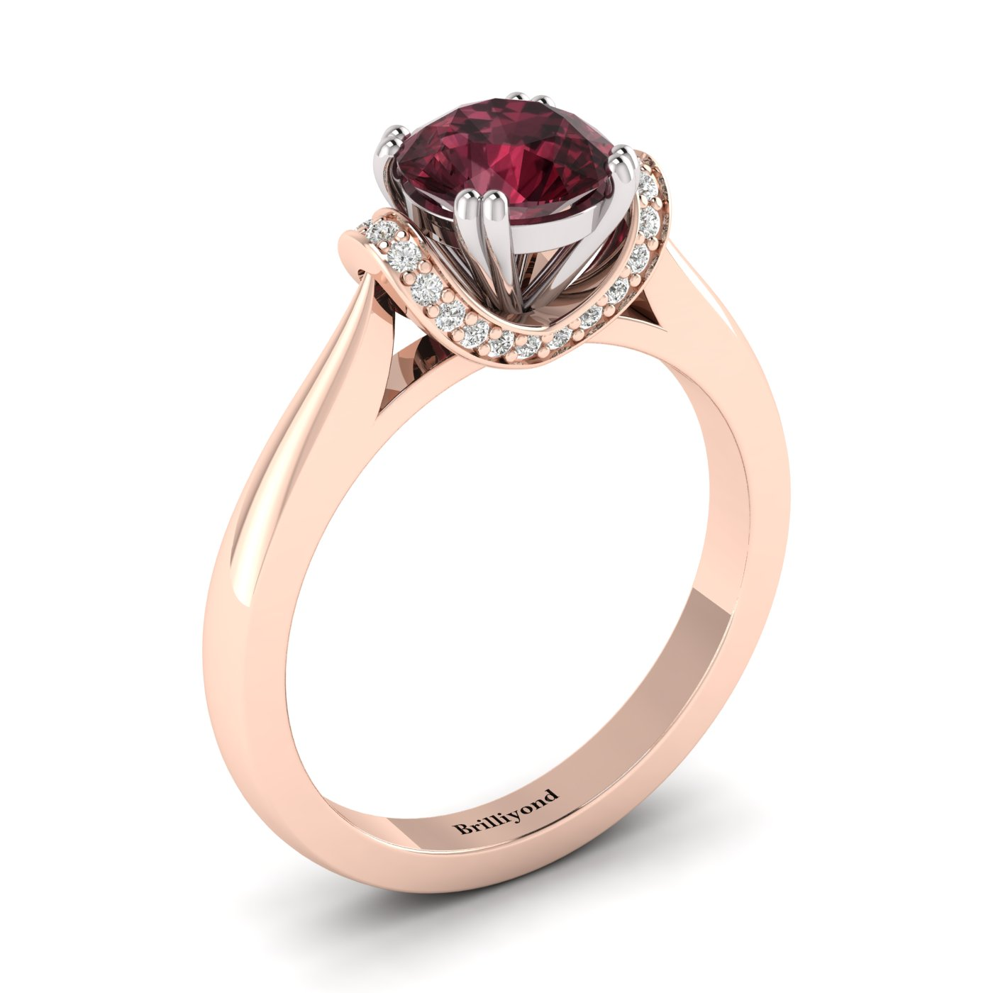 Garnet Rose Gold Two Tone Engagement Ring Passiflora_image2