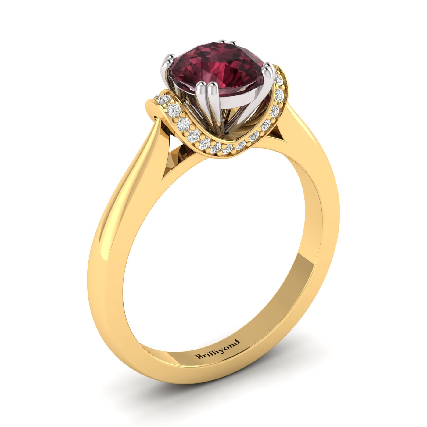 Garnet Yellow Gold Two Tone Engagement Ring Passiflora_image1