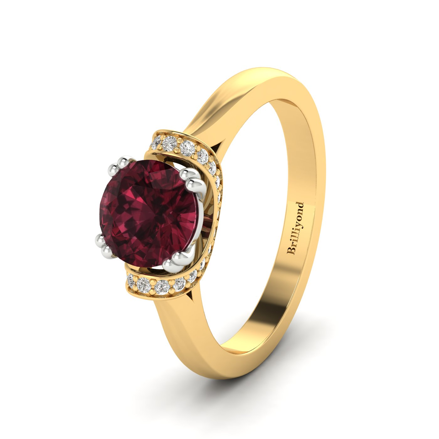 Garnet Yellow Gold Two Tone Engagement Ring Passiflora_image2