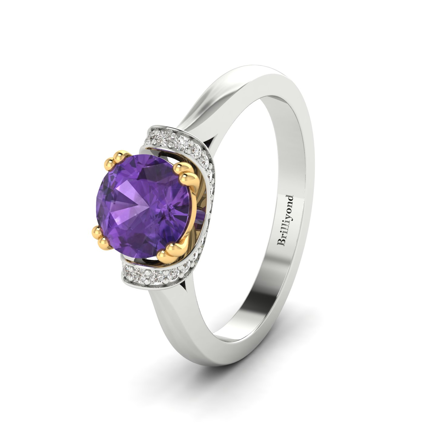 Amethyst White Gold Two Tone Engagement Ring Passiflora_image1