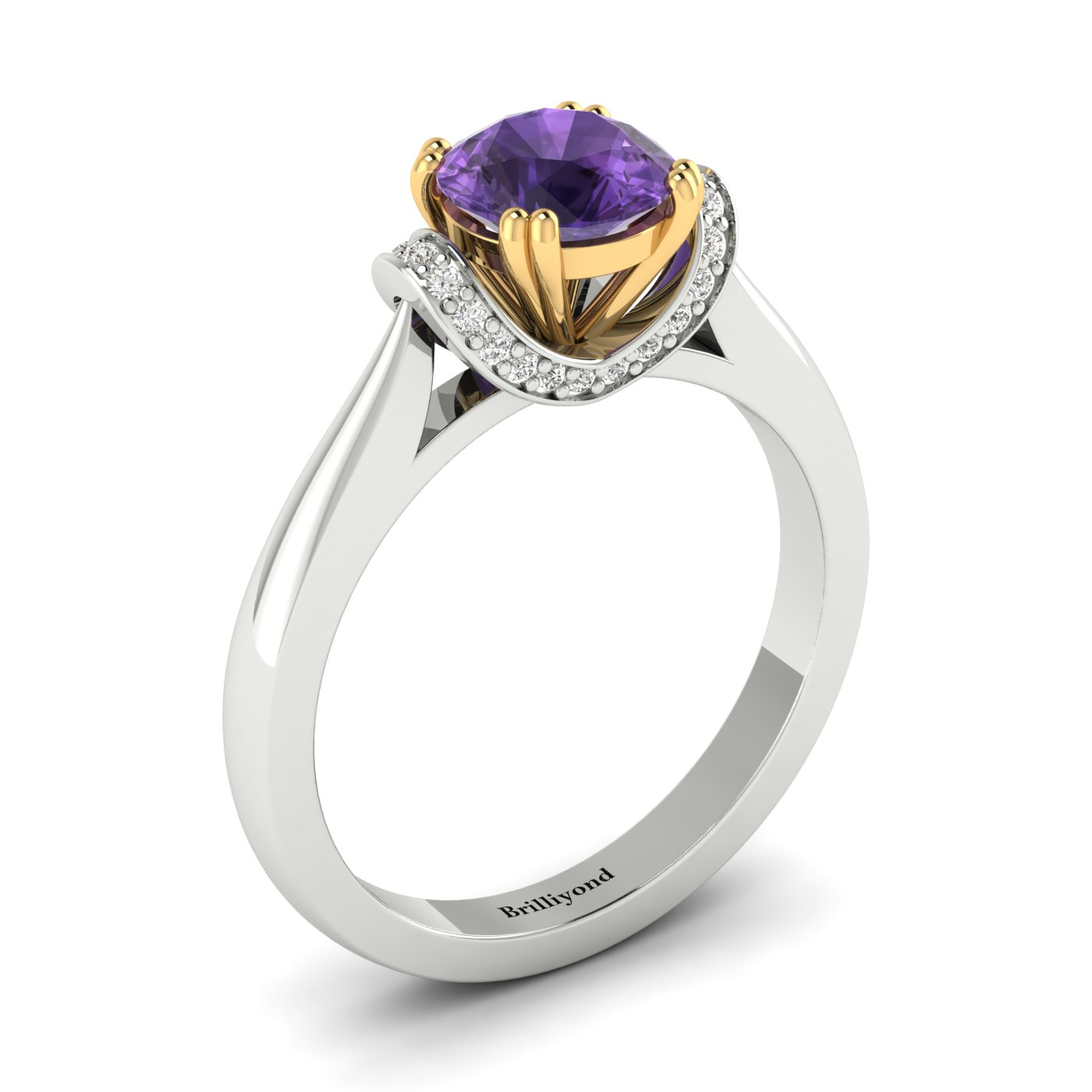 Amethyst White Gold Two Tone Engagement Ring Passiflora_image2