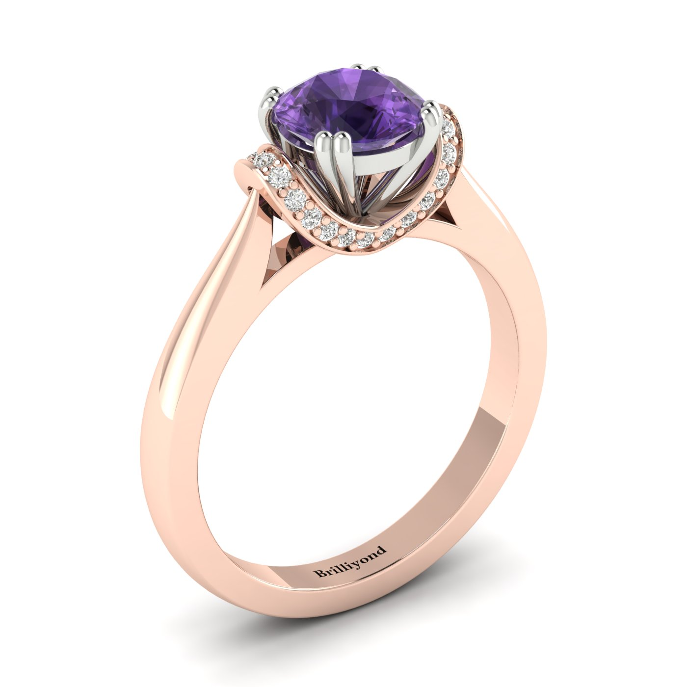 Amethyst Rose Gold Two Tone Engagement Ring Passiflora_image1