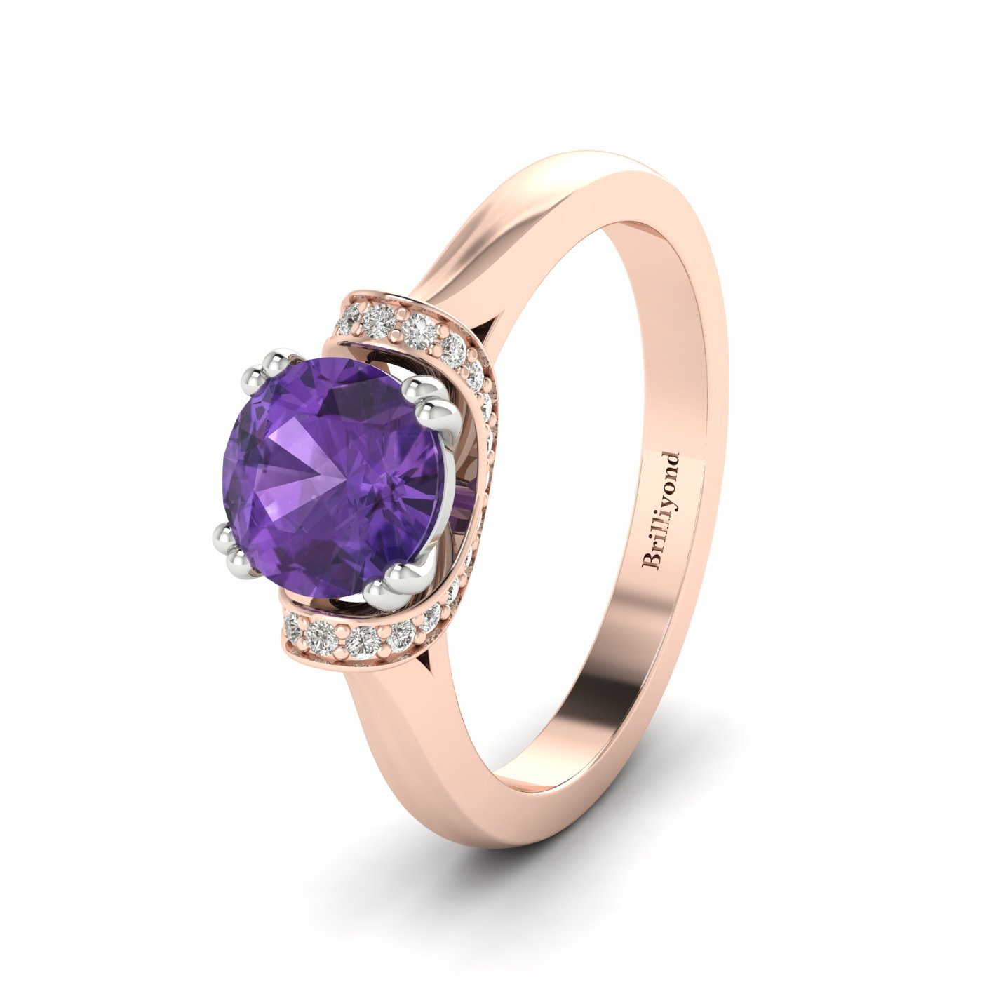Amethyst Rose Gold Two Tone Engagement Ring Passiflora_image2