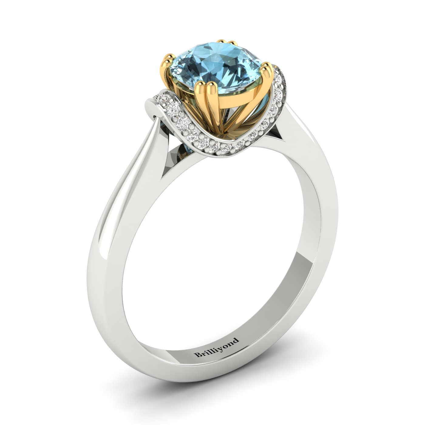 Aquamarine White Gold Two Tone Engagement Ring Passiflora_image1