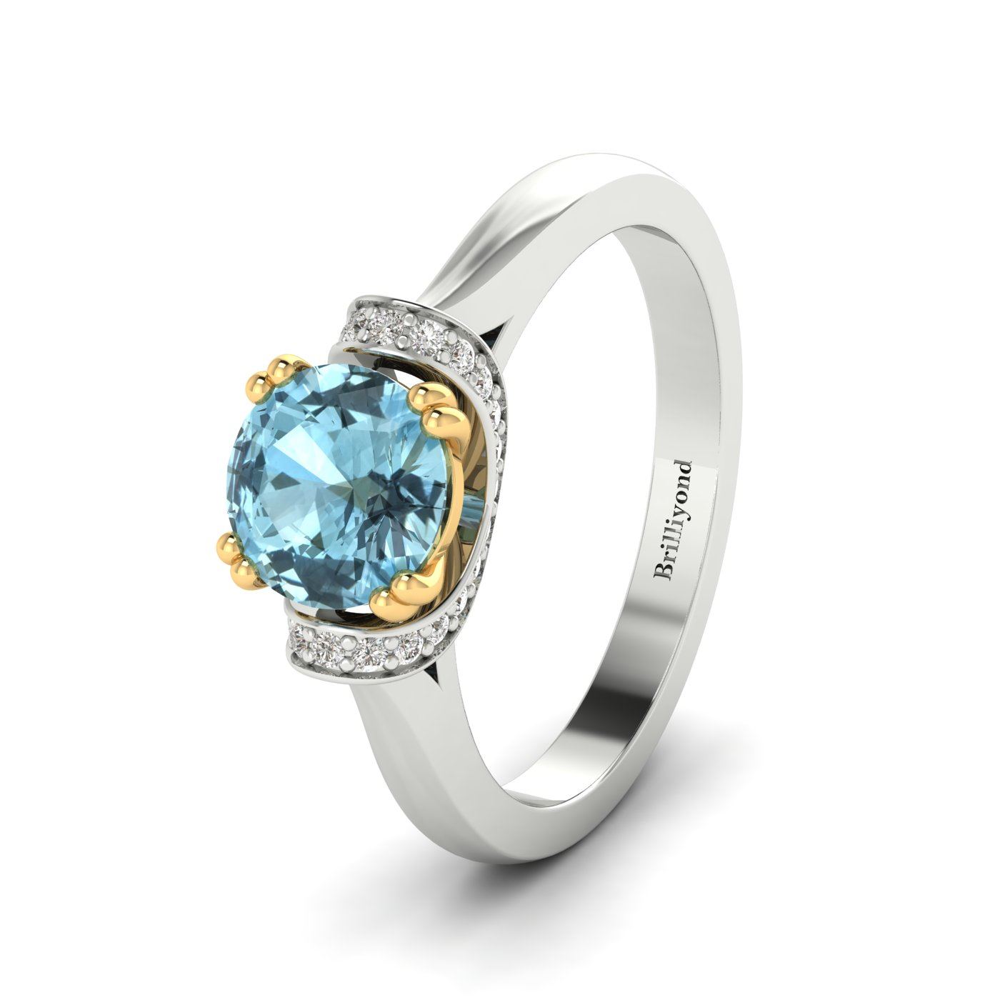 Aquamarine White Gold Two Tone Engagement Ring Passiflora_image2