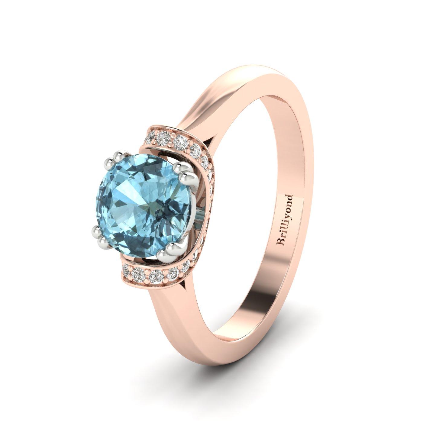 Aquamarine Rose Gold Two Tone Engagement Ring Passiflora
