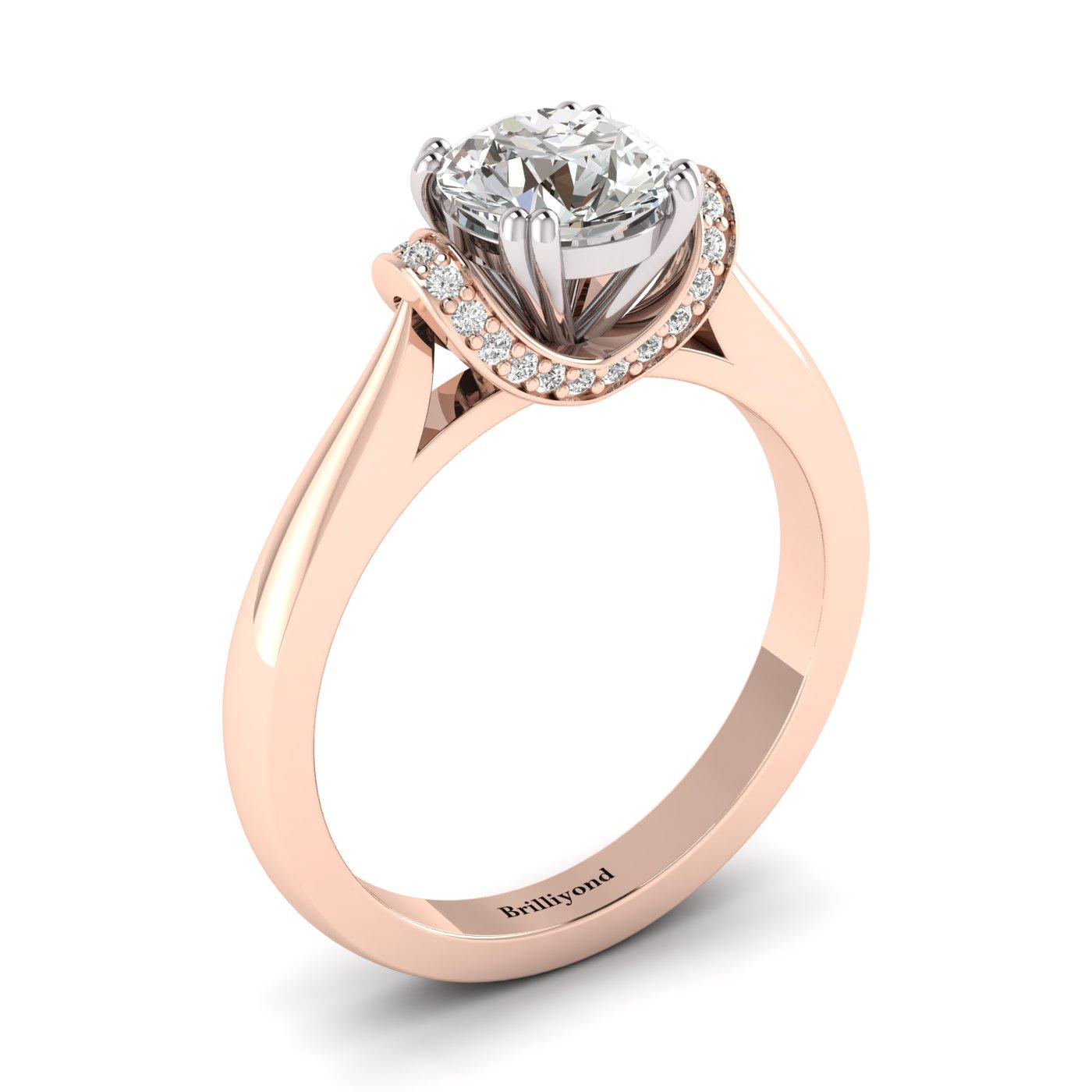 Diamond Rose Gold Two Tone Engagement Ring Passiflora_image1