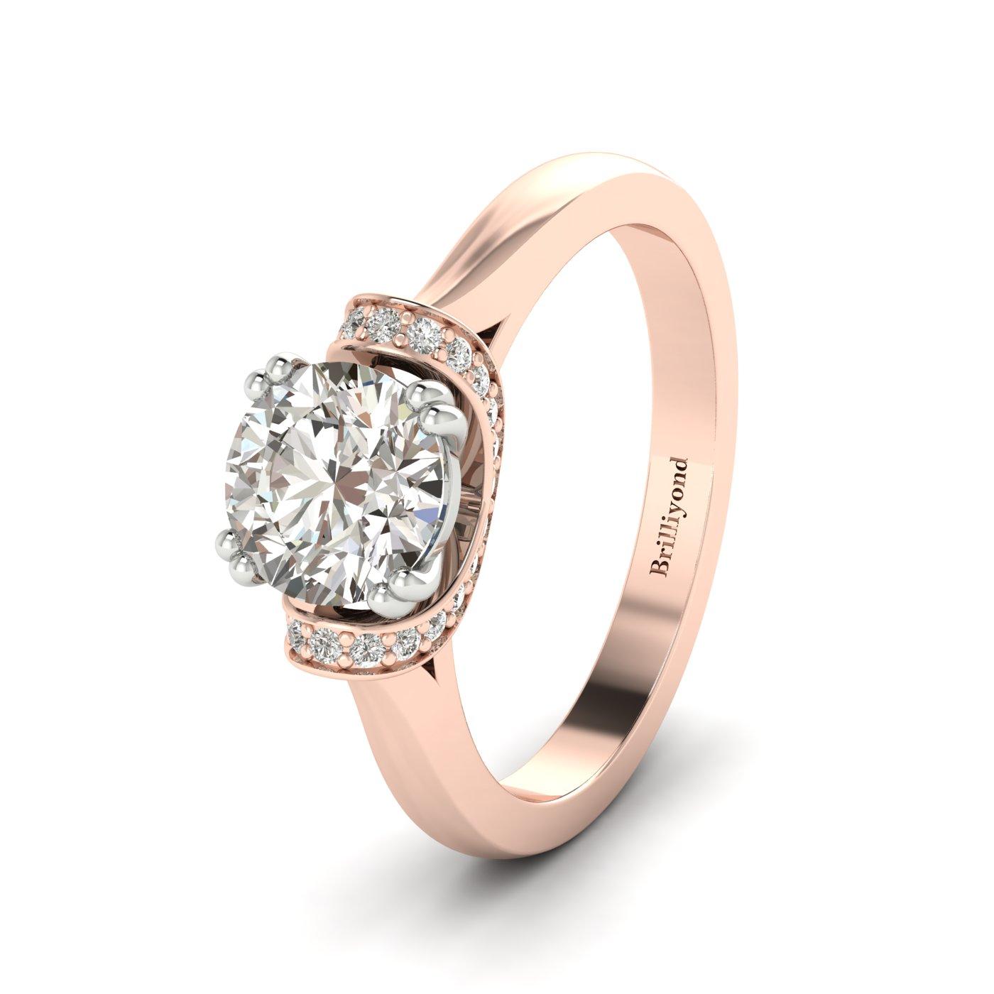 Diamond Rose Gold Two Tone Engagement Ring Passiflora_image2