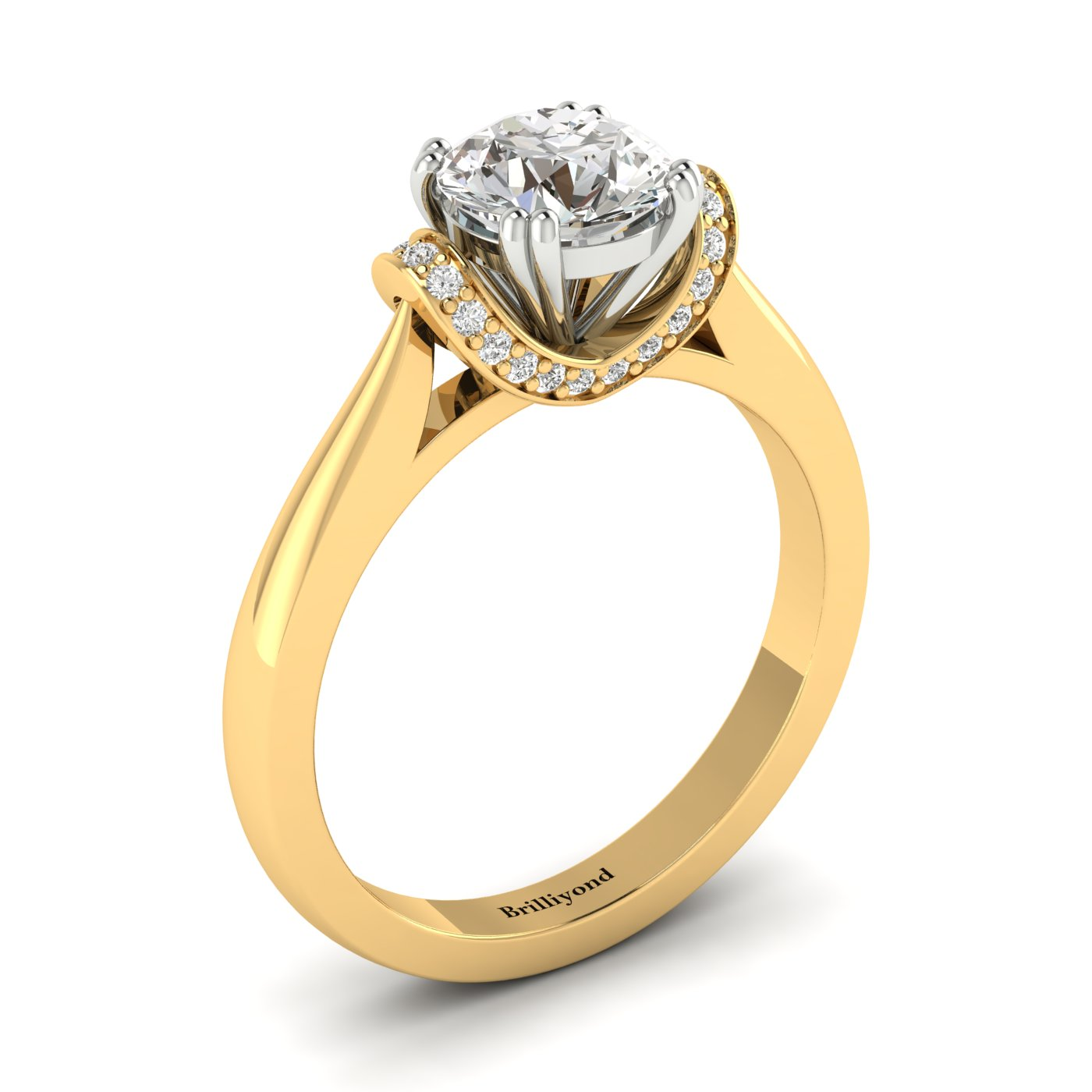 Diamond Yellow Gold Two Tone Engagement Ring Passiflora_image2