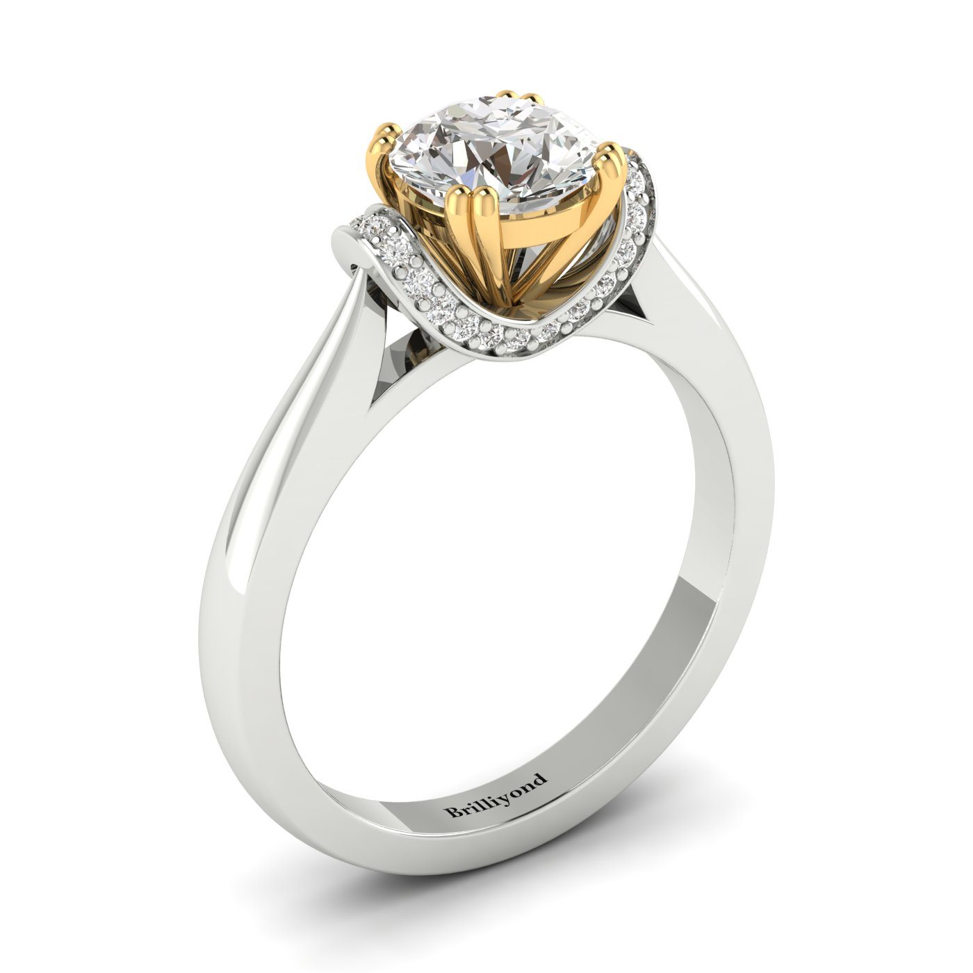 White Sapphire White Gold Two Tone Engagement Ring Passiflora_image1