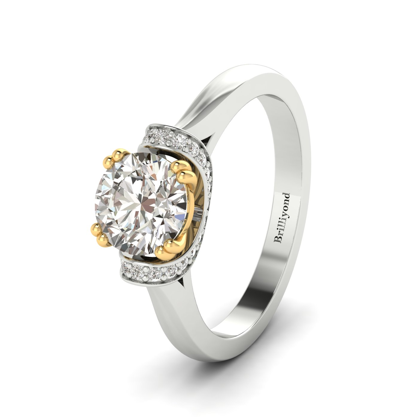 White Sapphire White Gold Two Tone Engagement Ring Passiflora_image2