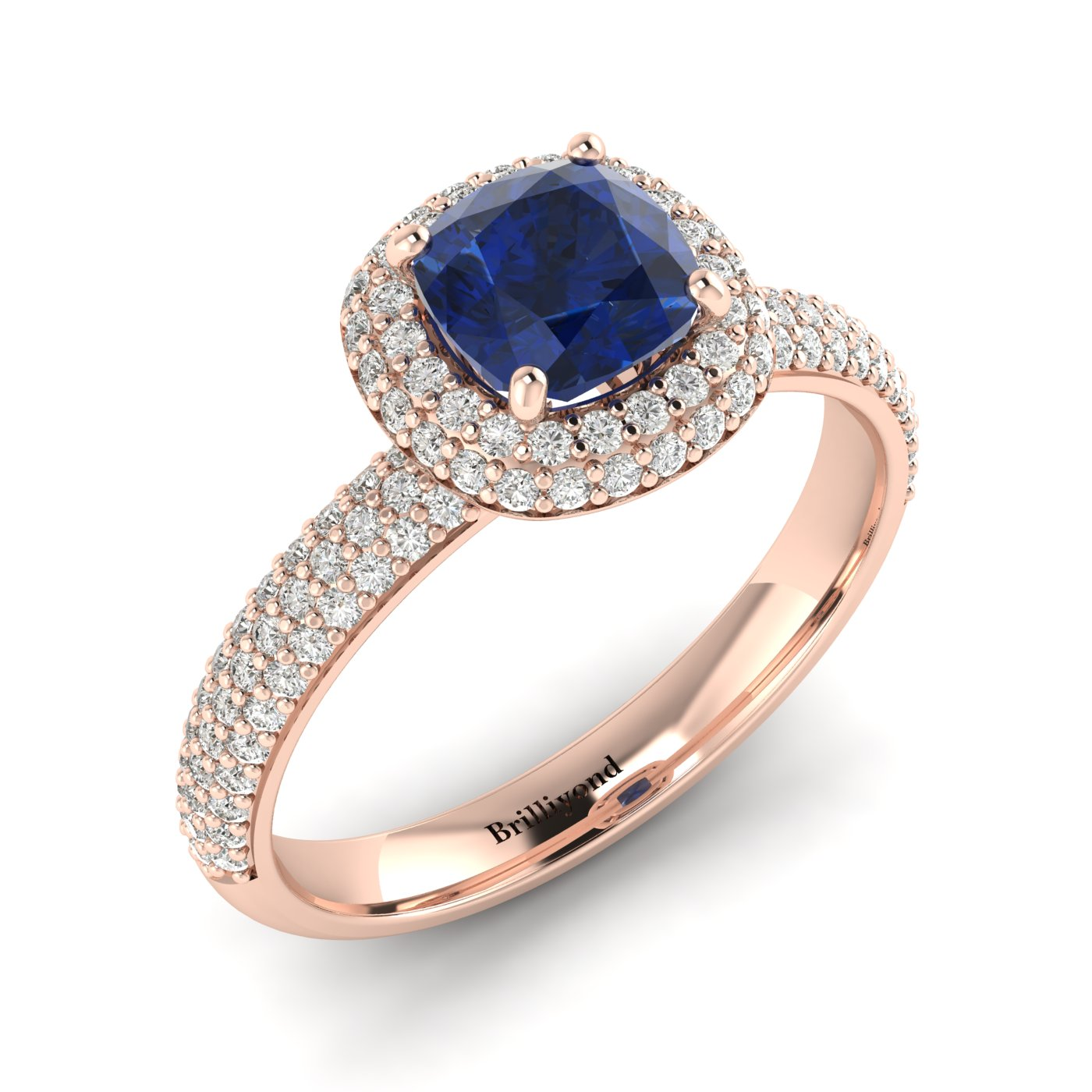 Blue Sapphire Rose Gold Cushion Cut Engagement Ring Milky Way_image1