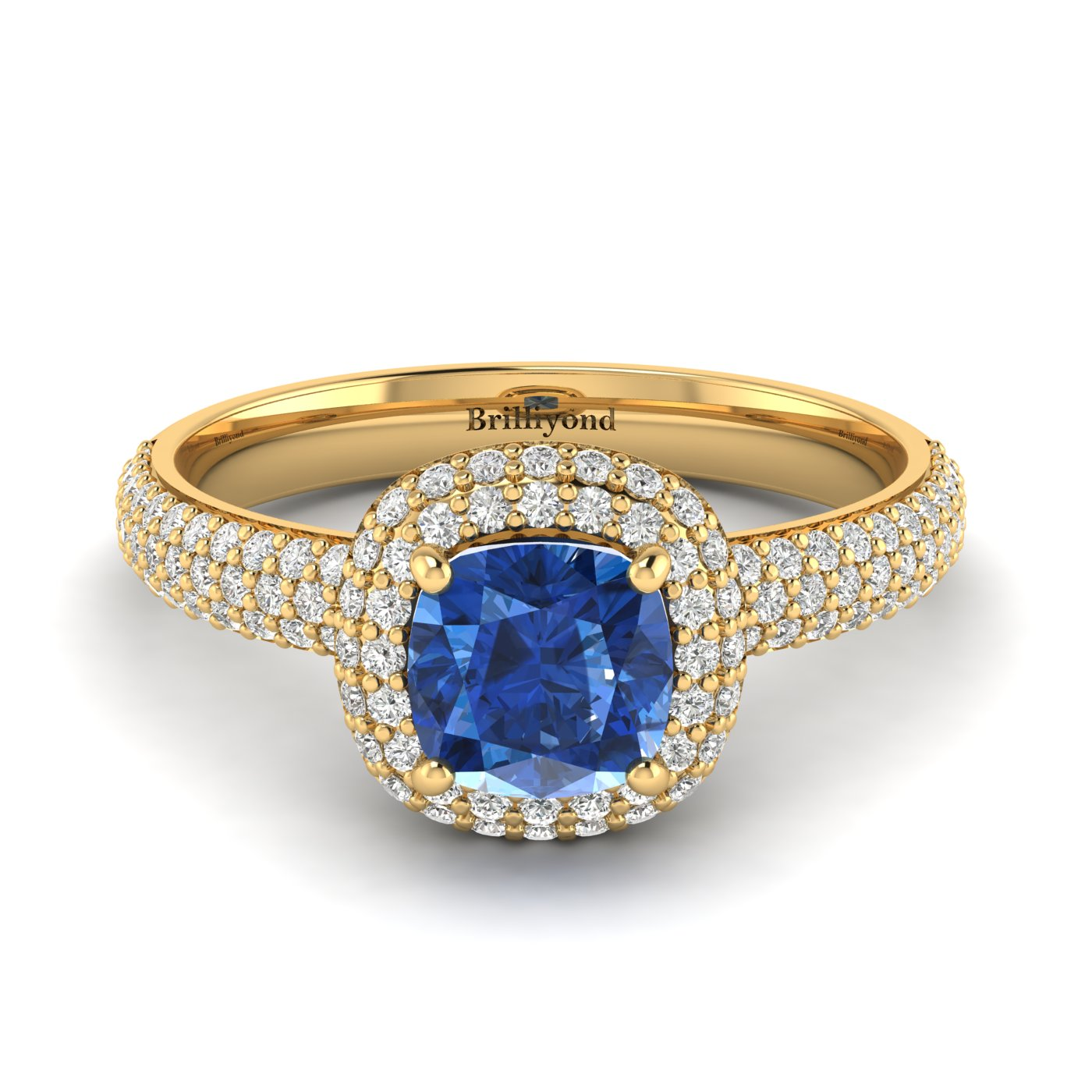Blue Sapphire Yellow Gold Cushion Cut Engagement Ring Milky Way_image1