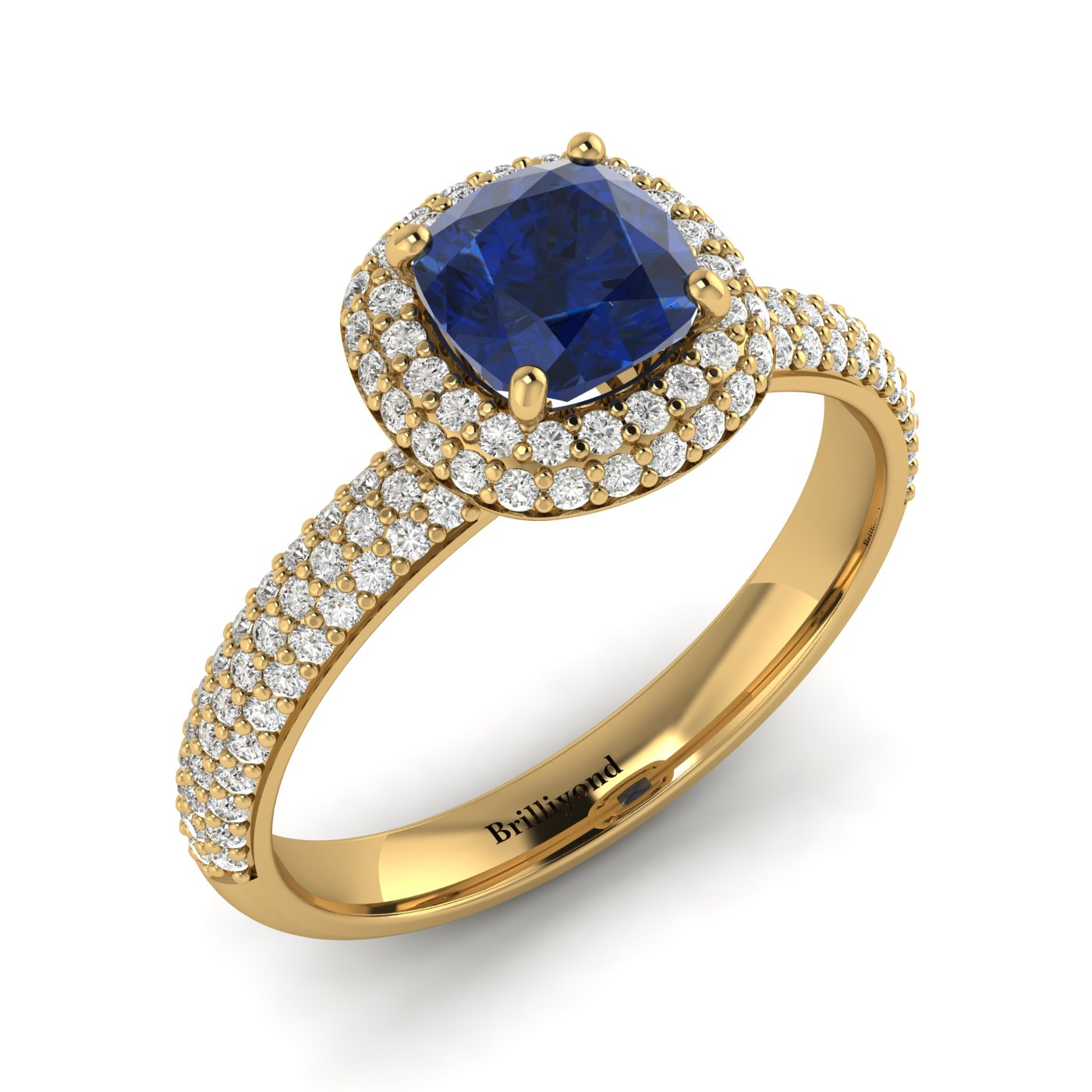 Blue Sapphire Yellow Gold Cushion Cut Engagement Ring Milky Way_image2