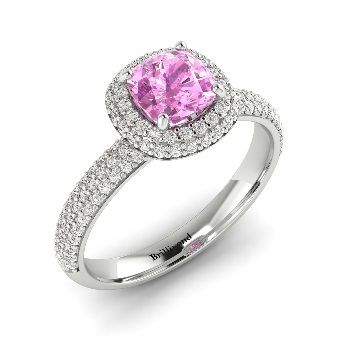 Pink Sapphire White Gold Cushion Cut Engagement Ring Milky Way_image1