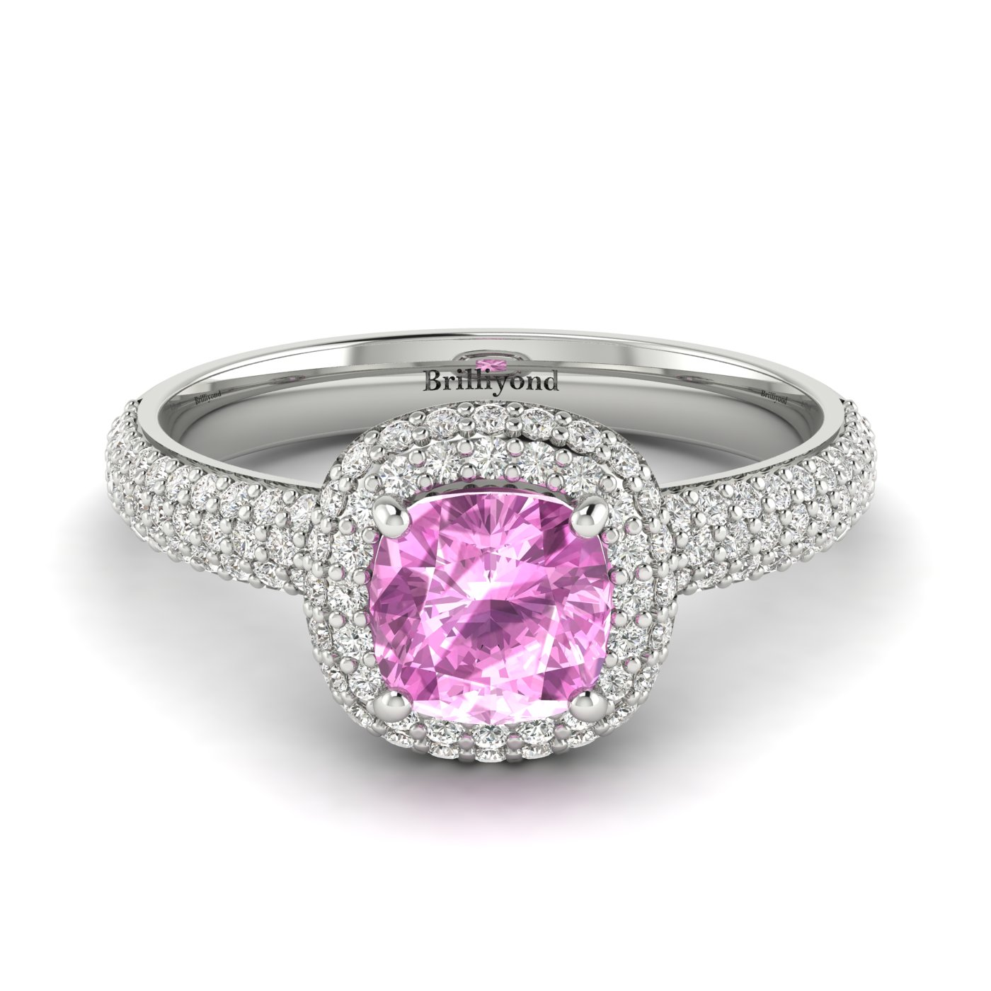 Pink Sapphire White Gold Cushion Cut Engagement Ring Milky Way_image2